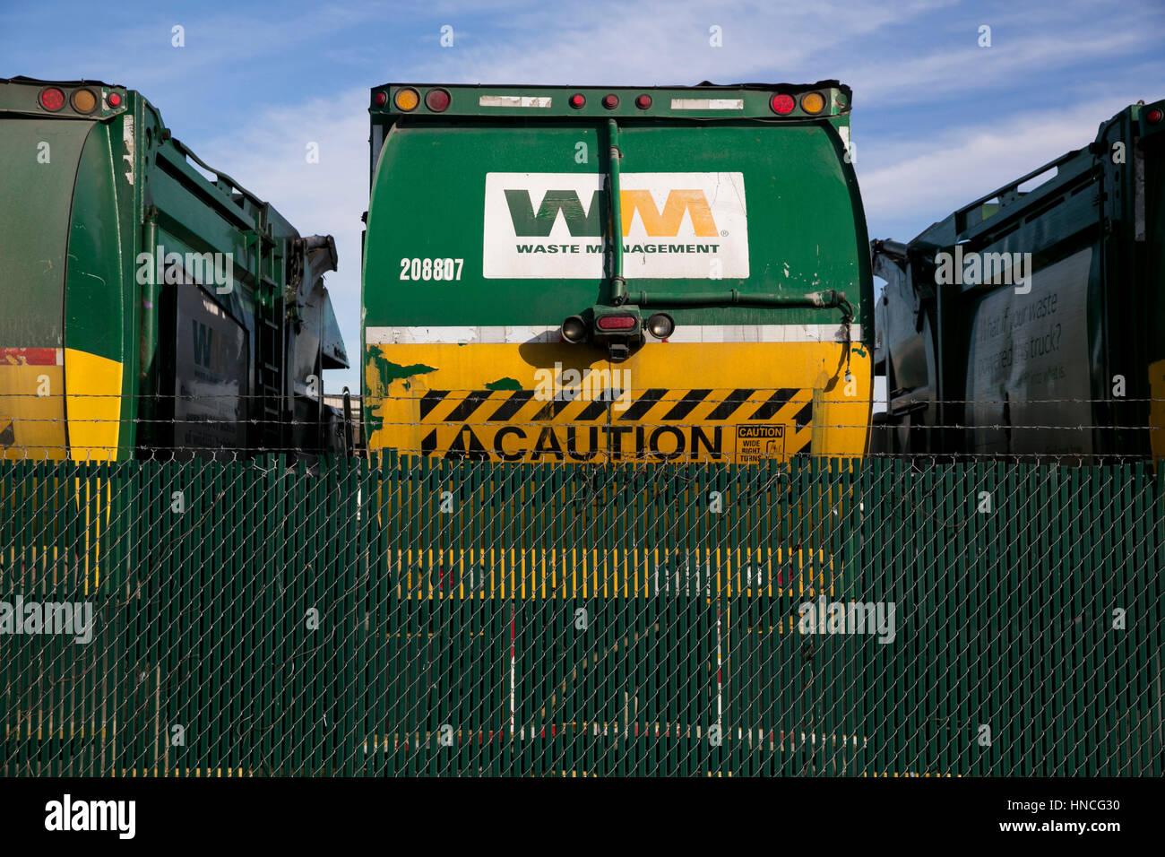 Signes du logo sur la gestion des déchets, Inc., les camions à San Antonio, Texas, le 29 janvier 2017. Photo Stock