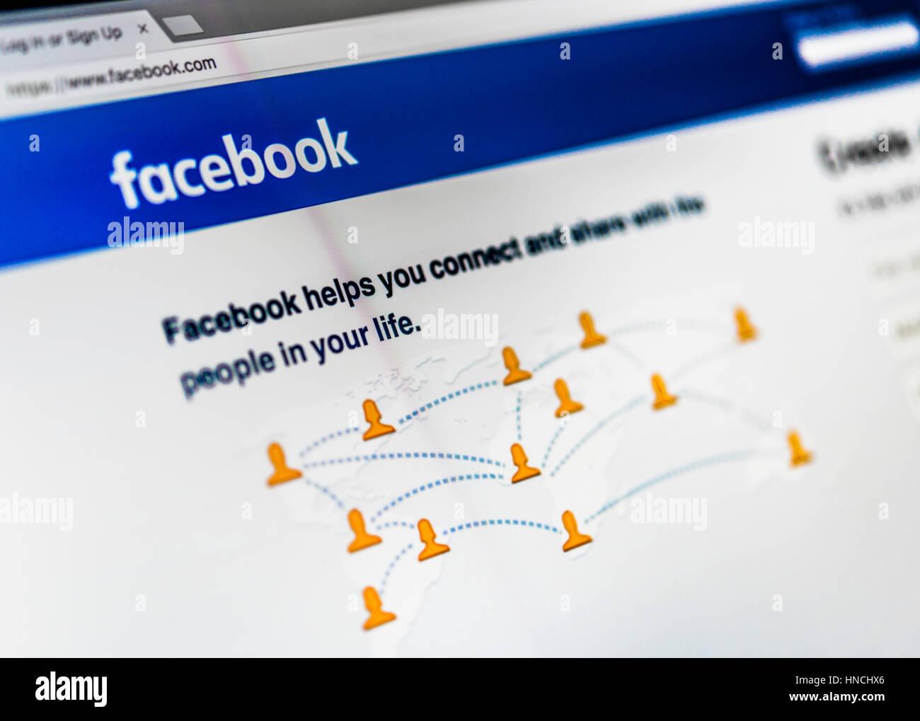 Facebook, réseau social, l'accueil, Logo, Internet, capture d'écran Photo Stock