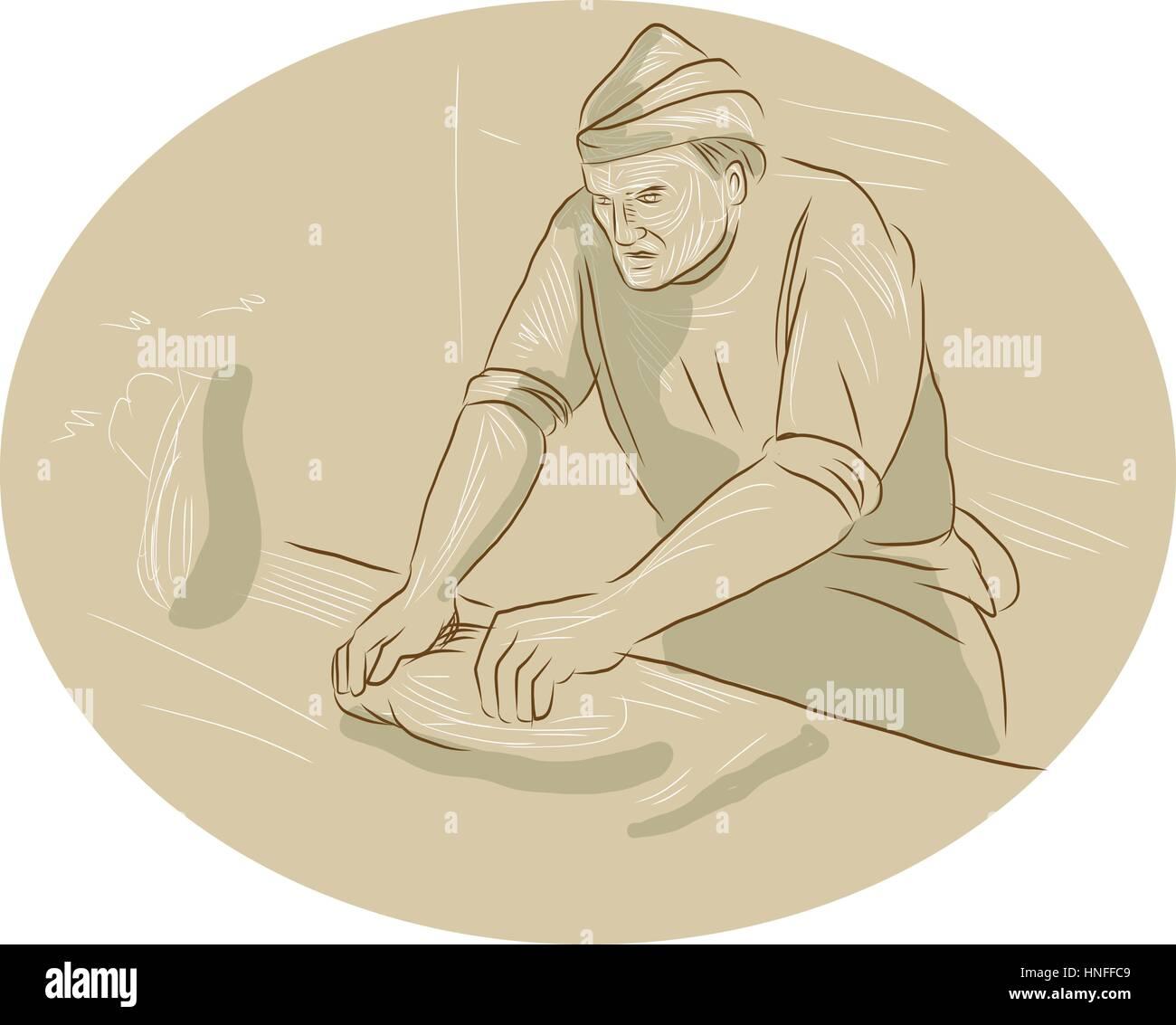 Croquis Dessin Illustration Style De Chef Cuisinier D Un Boulanger à