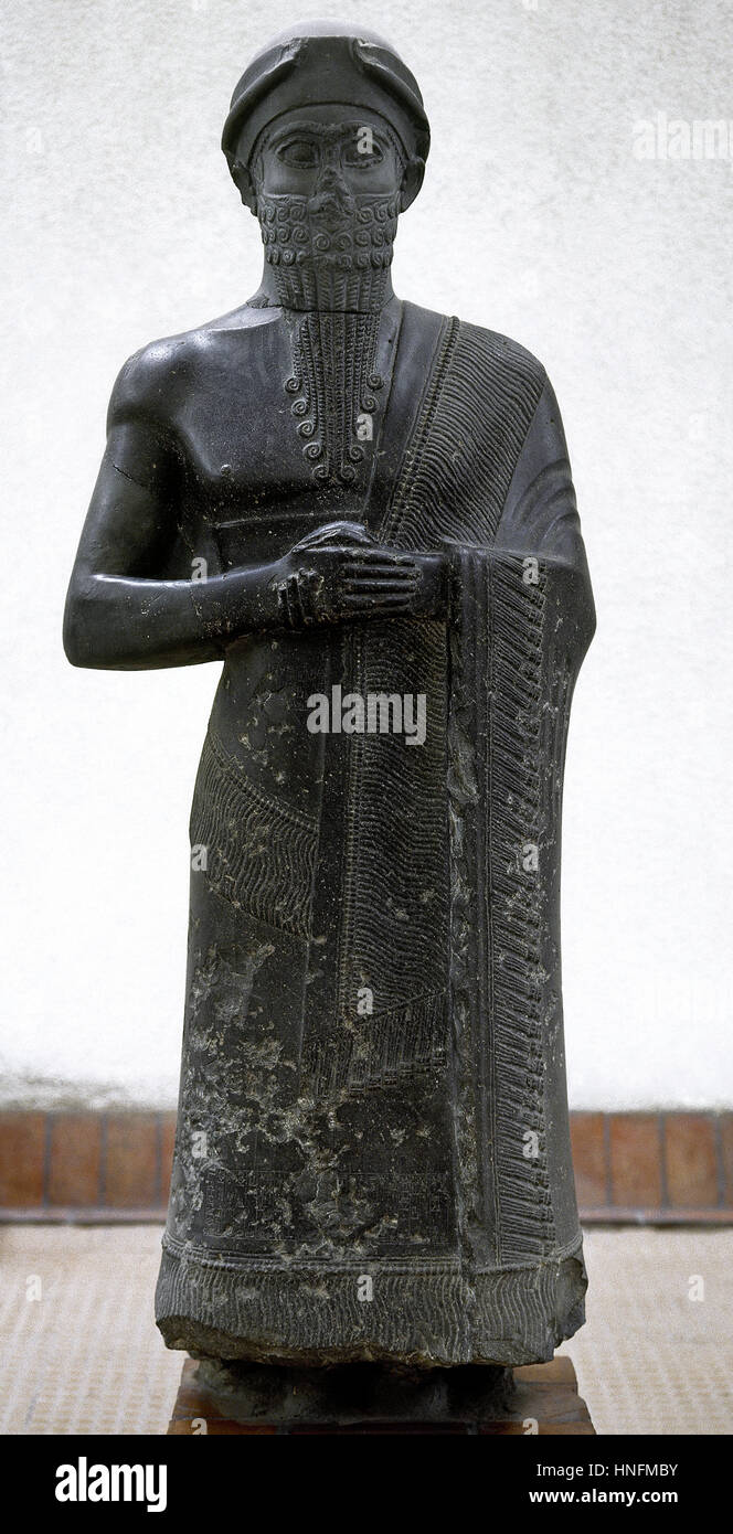 Statue de Puzur Ishtar, gouverneur de Mari, période néo-art sumérien Ur III, entre 2100-200 BC. Les Photo Stock