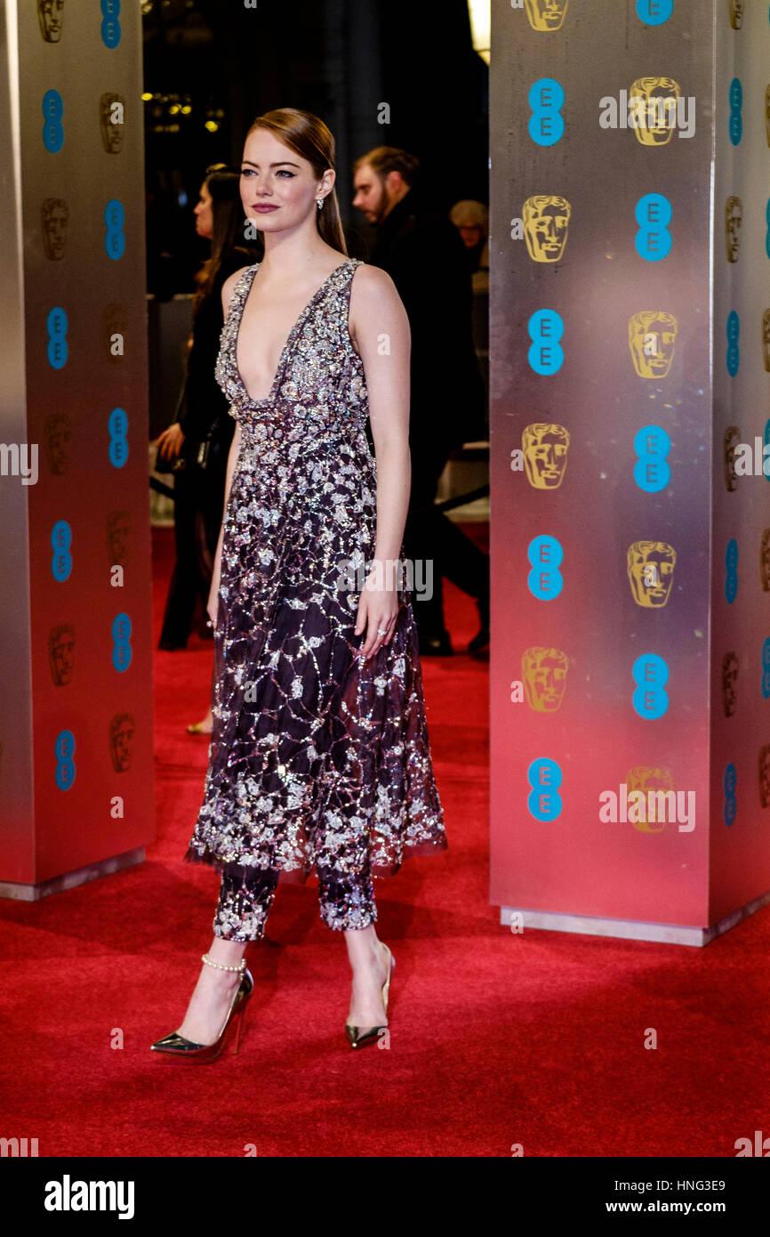 Londres, Royaume-Uni. 12 février 2017. Emma Stone arrive à l'EE British Academy Film Awards le 12/02/2017 Photo Stock