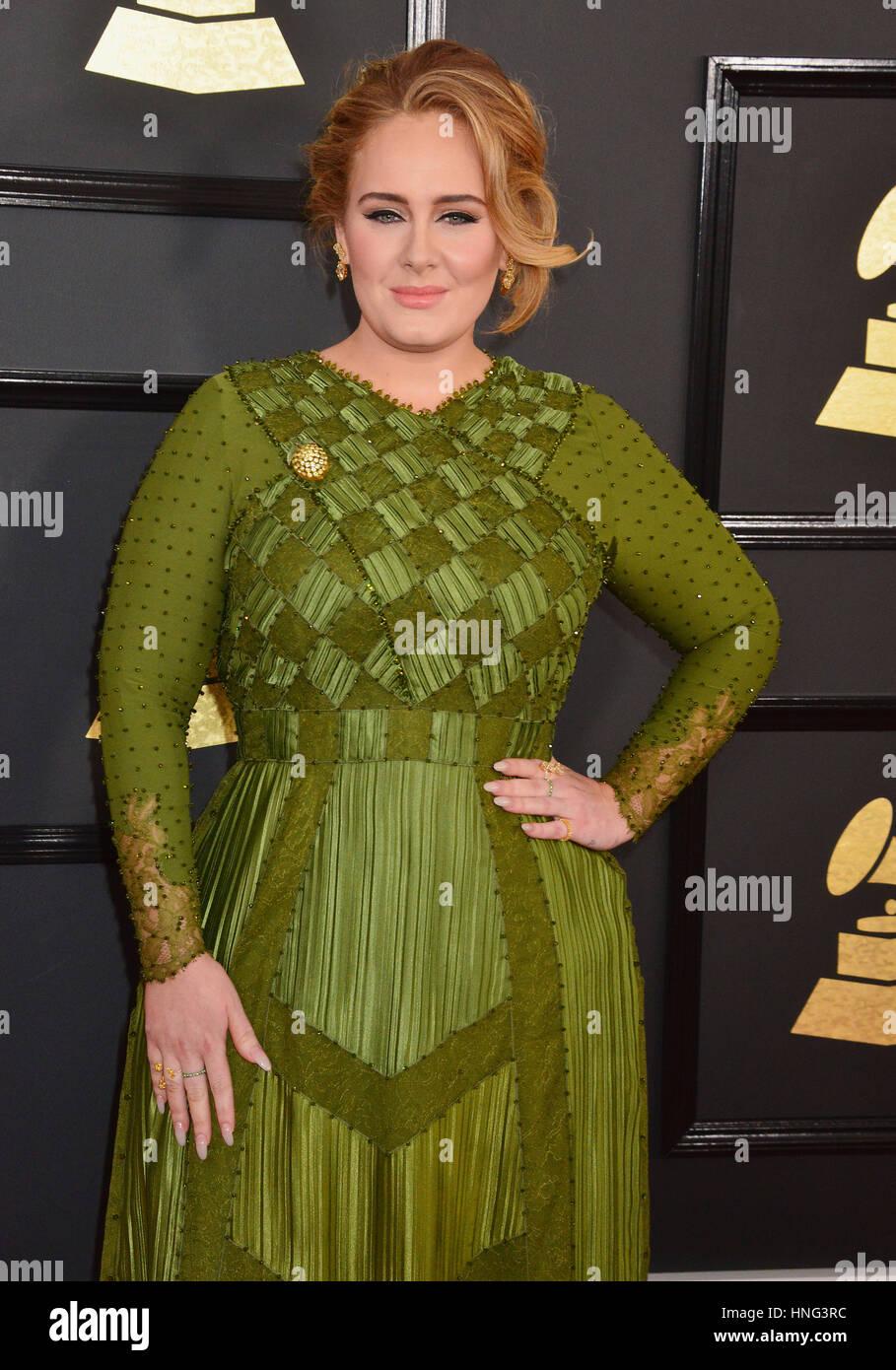 Un_Adele 063 arrivant à la 59e cérémonie annuelle de remise des Prix Grammy 2017 au Staples Center Photo Stock