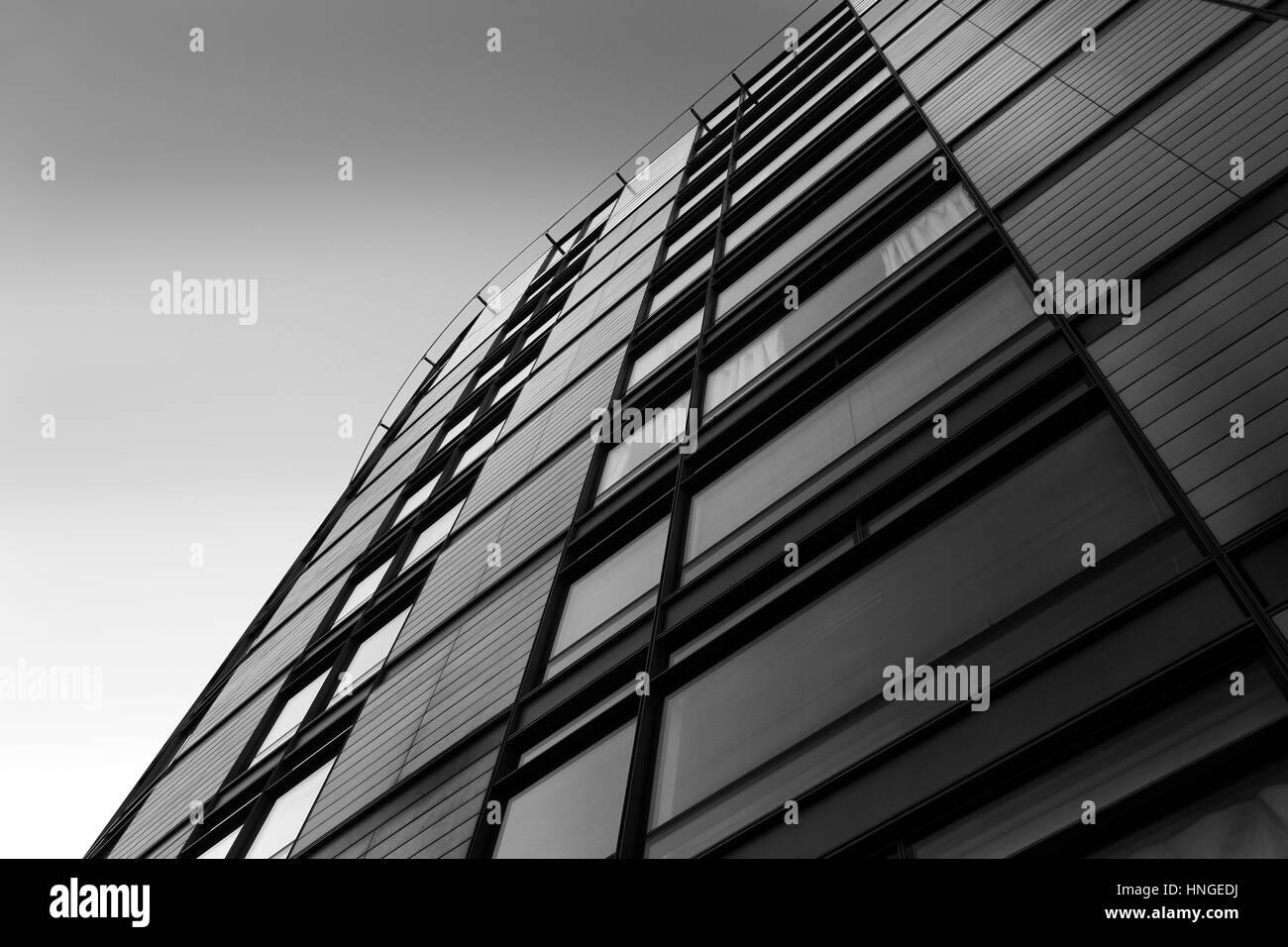 L'architecture détaillée en noir et blanc Banque D'Images