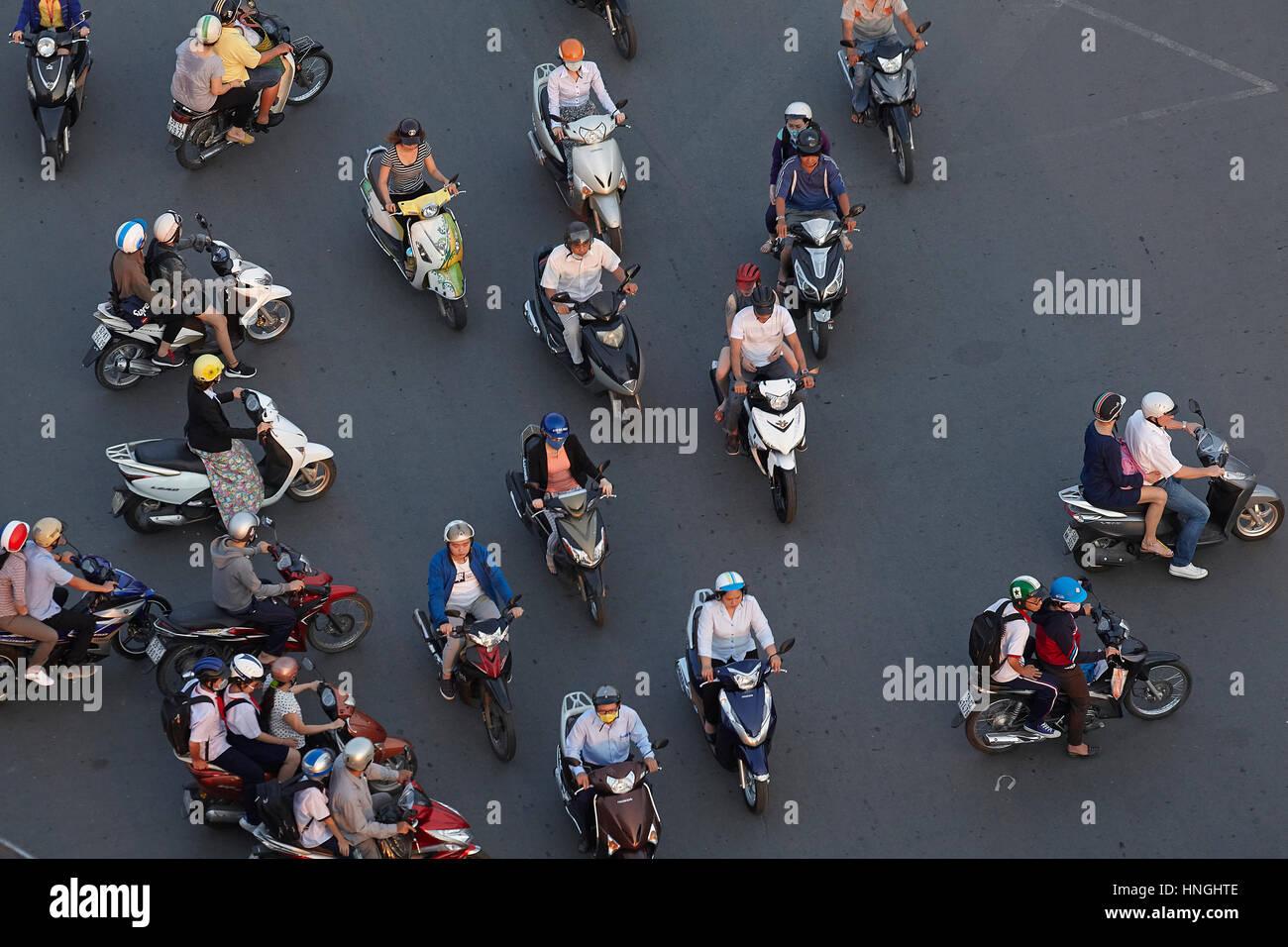 Au rond-point de motos de Ben Thanh, Ho Chi Minh Ville (Saigon), Vietnam Photo Stock