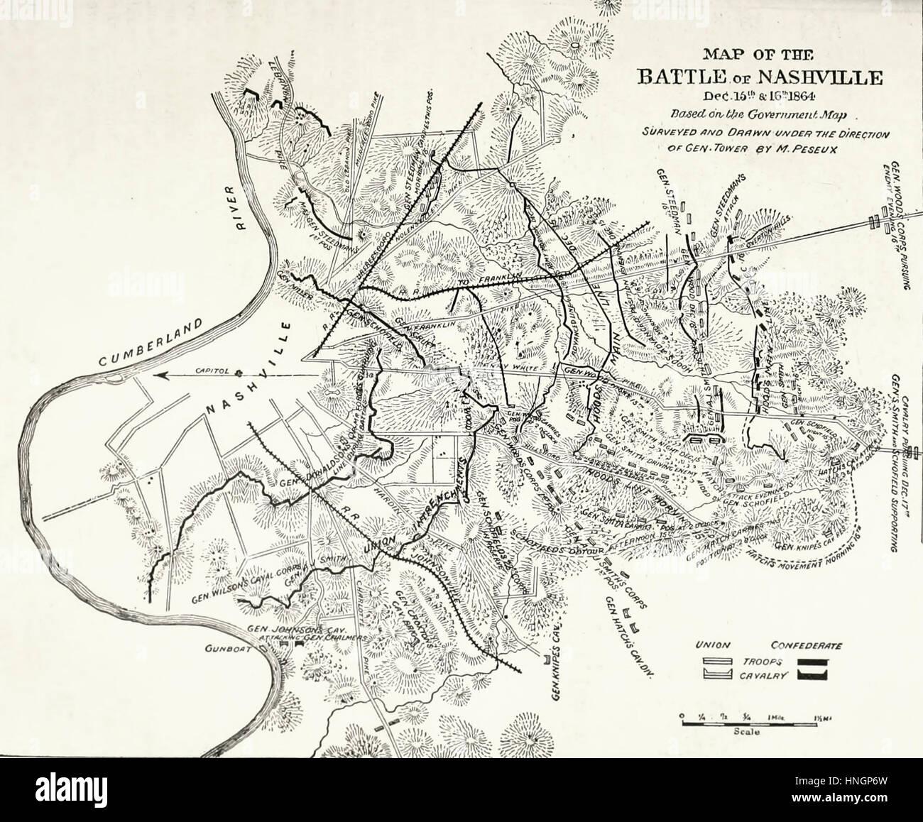 Carte de la bataille de Nashville, le 15 et 16 décembre 1864. Guerre civile USA Photo Stock