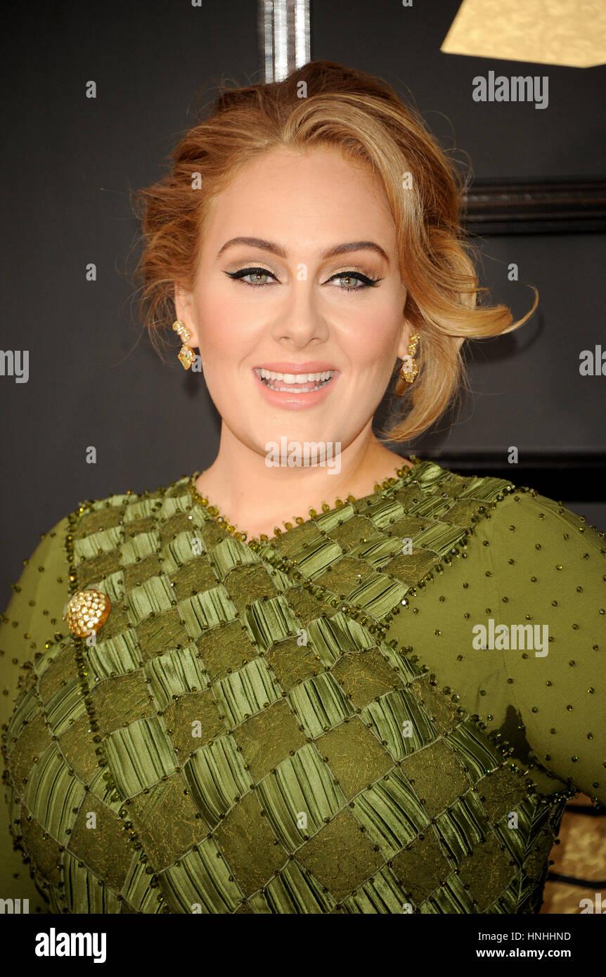 Los Angeles, USA. 12 février 2017. Adele à la 59e GRAMMY Awards qui a eu lieu au Staples Center de Los Photo Stock