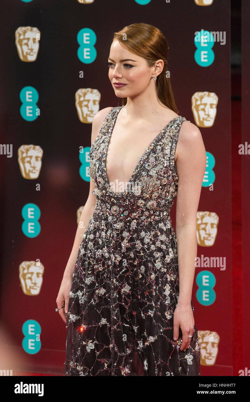 Londres, Royaume-Uni. 12 Février, 2017. Emma Stone. Tapis rouge pour les arrivées EE British Academy Film Photo Stock