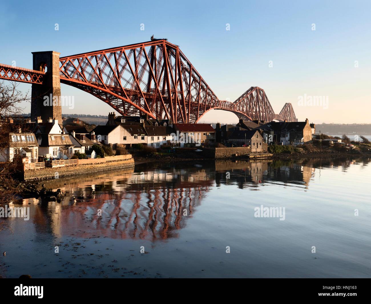 Pont du Forth de West Bay à North Queensferry Fife Ecosse Photo Stock