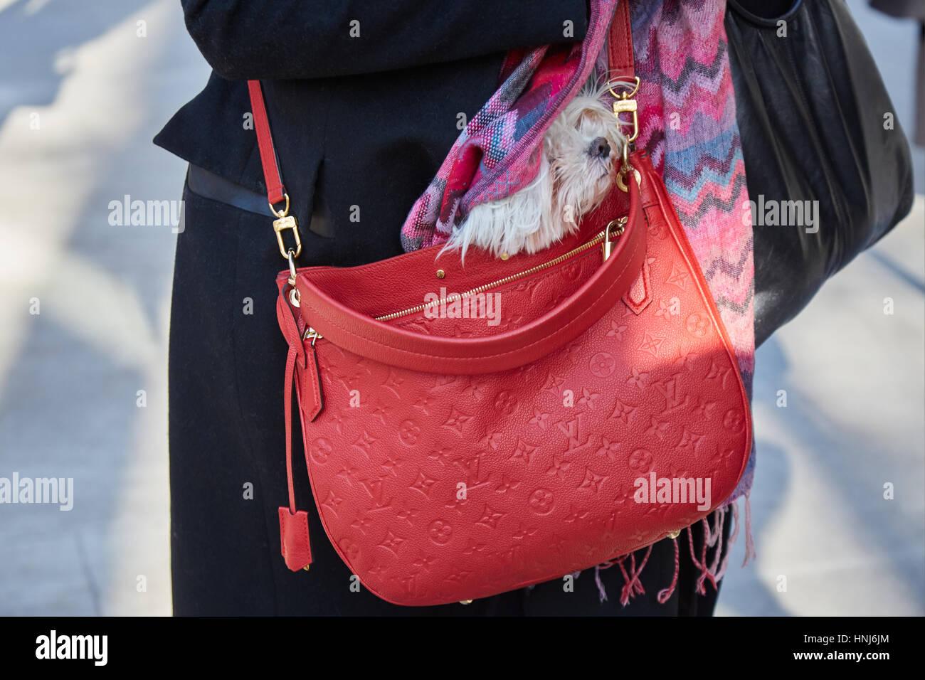 14ac577ee023 Femme avec chien en rouge avec Louis Vuitton sac rouge avant de Giorgio Armani  fashion show