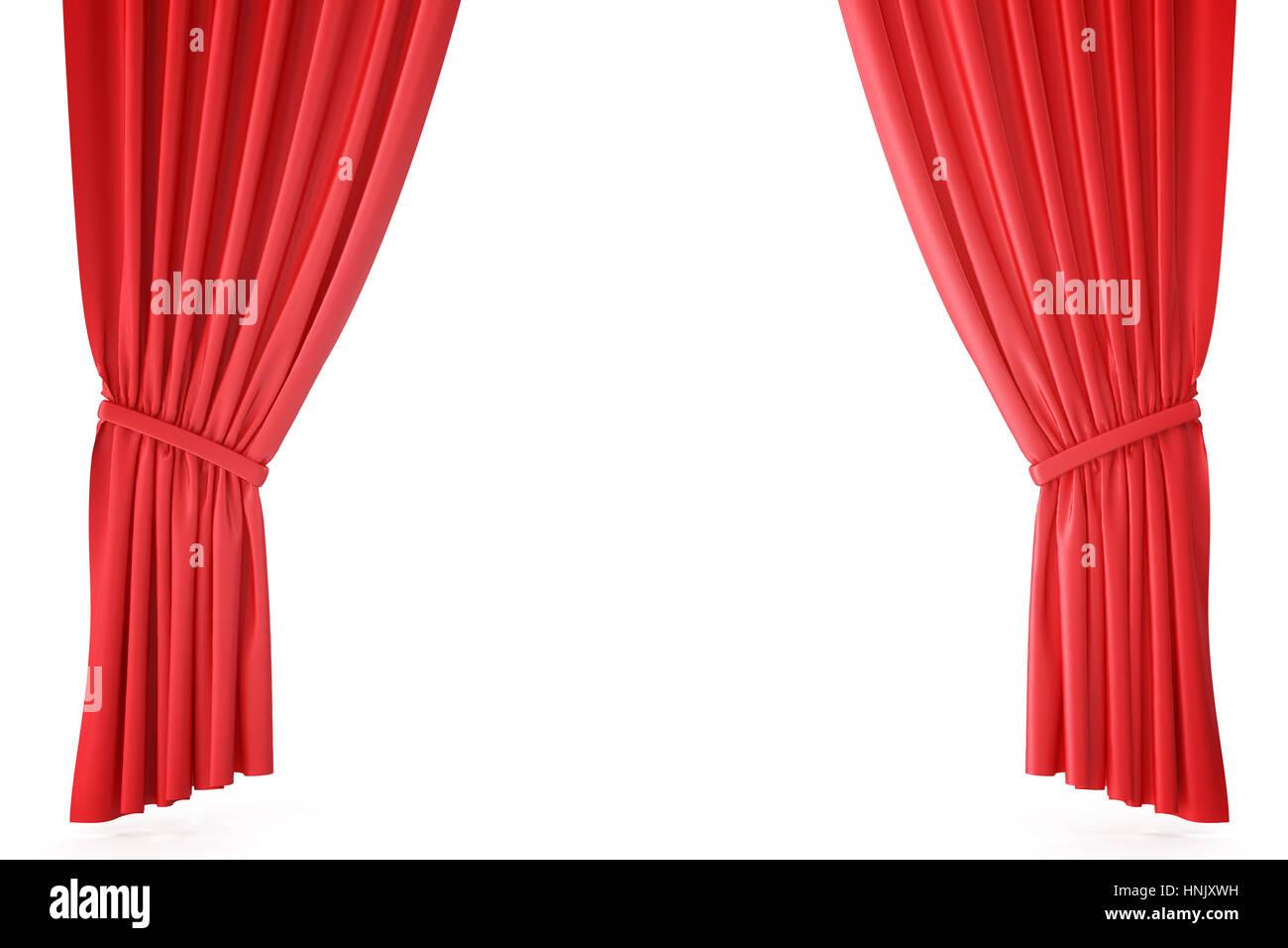 Rideaux de scène en velours rouge cramoisi, draperie de théâtre. Des ...