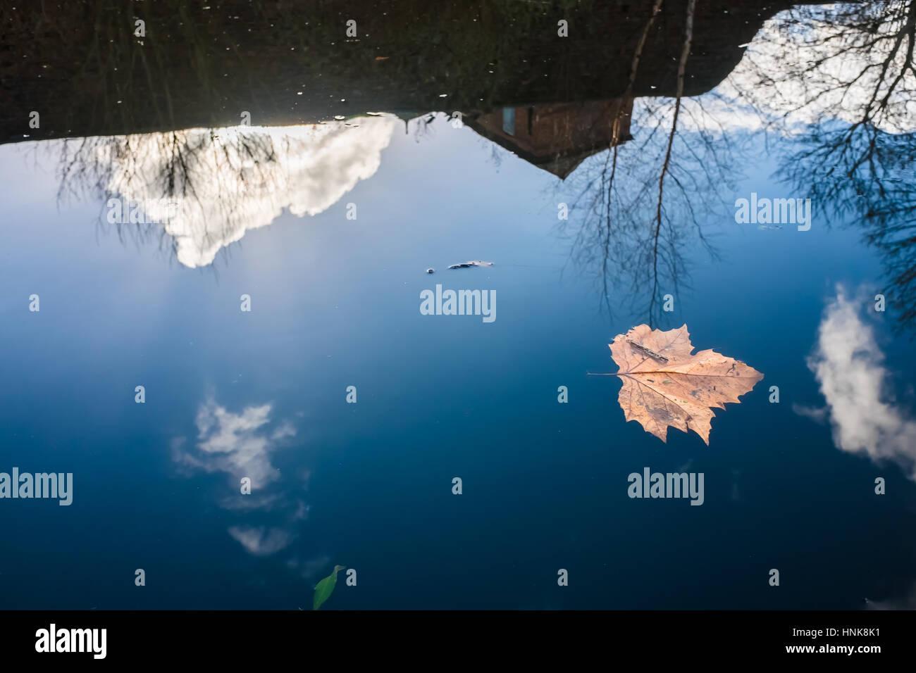 Réflexion sur les eaux calmes du Canal de Birmingham Photo Stock