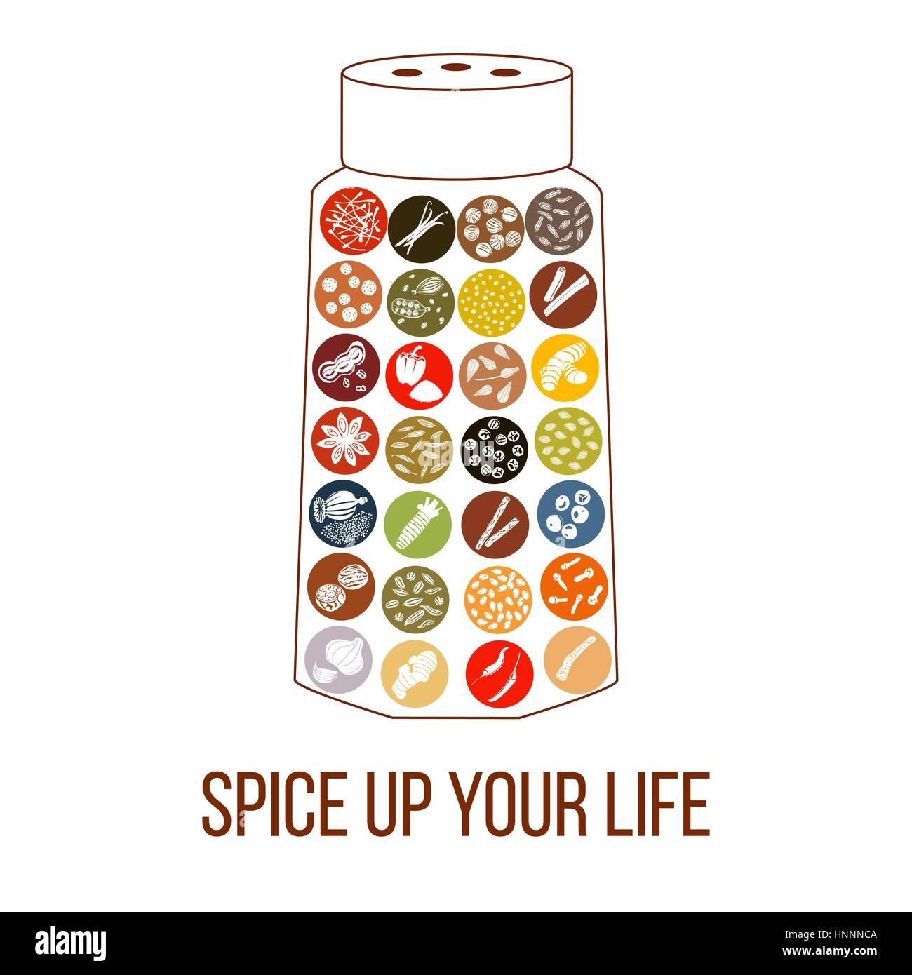 Ajoutez du piquant à votre vie phrase. humour télévision poivrière à épices culinaires Photo Stock