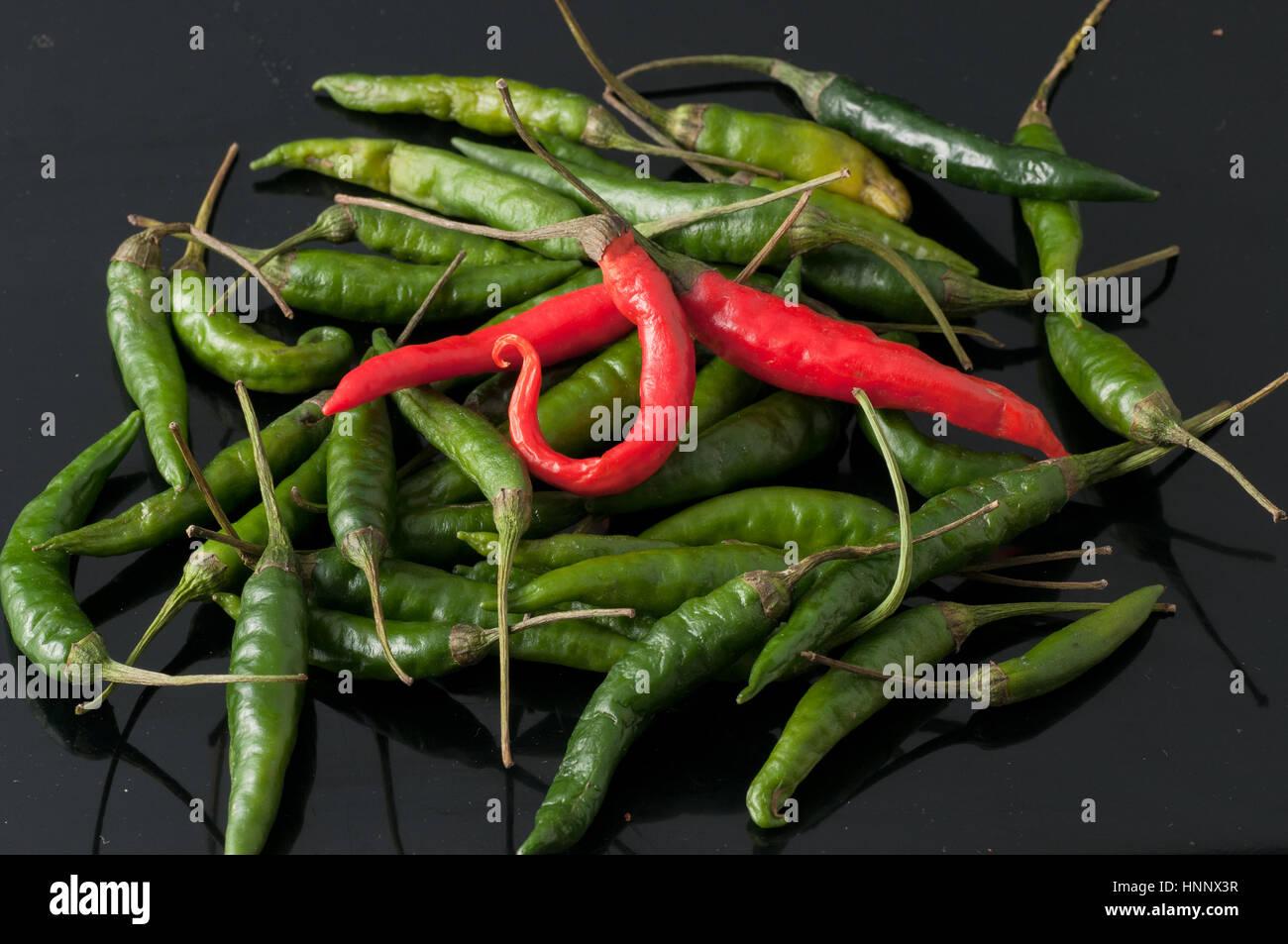 Piment vert et rouge Photo Stock