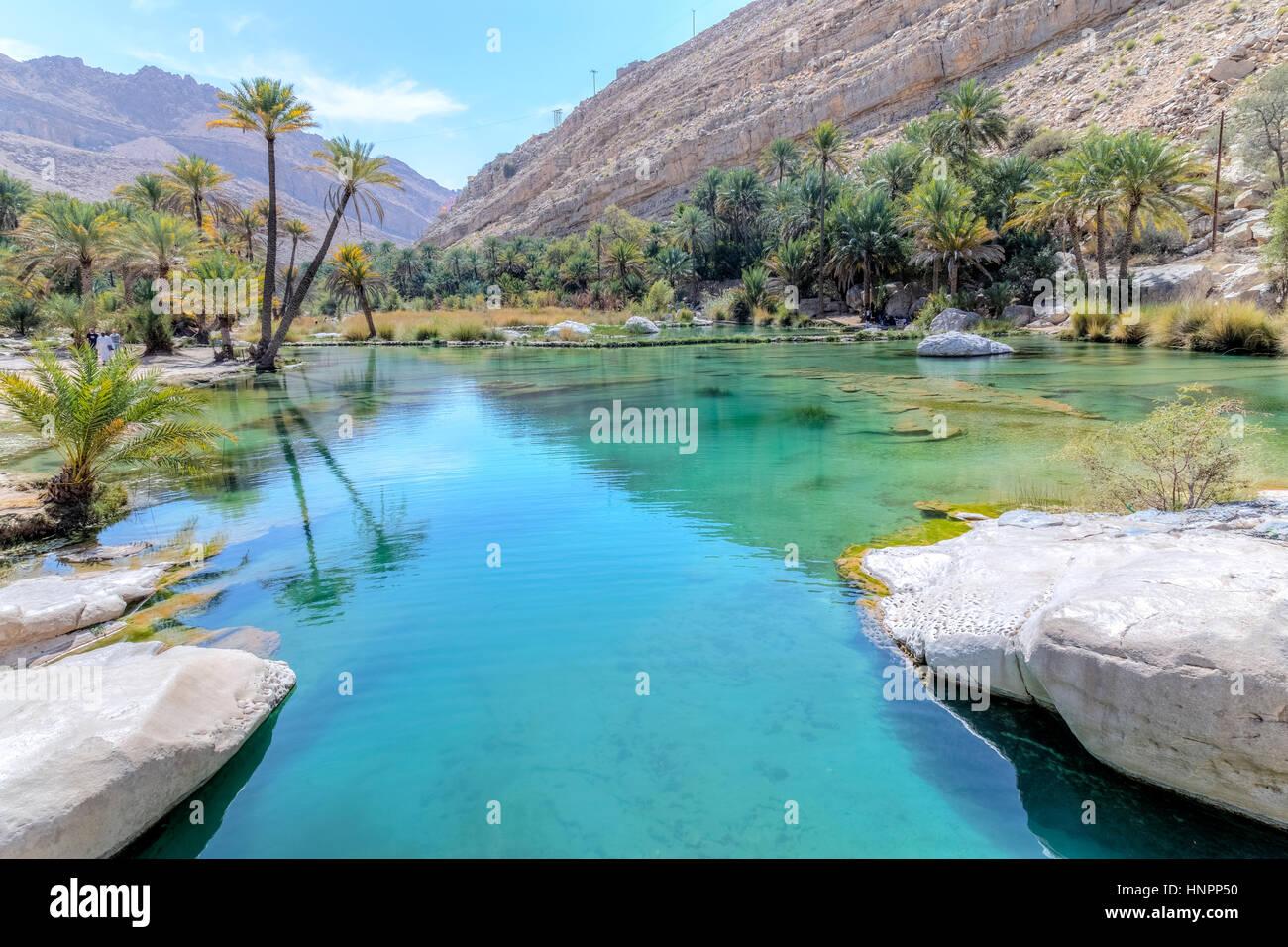 Wadi Bani Khalid, Oman, au Moyen-Orient, en Asie Photo Stock