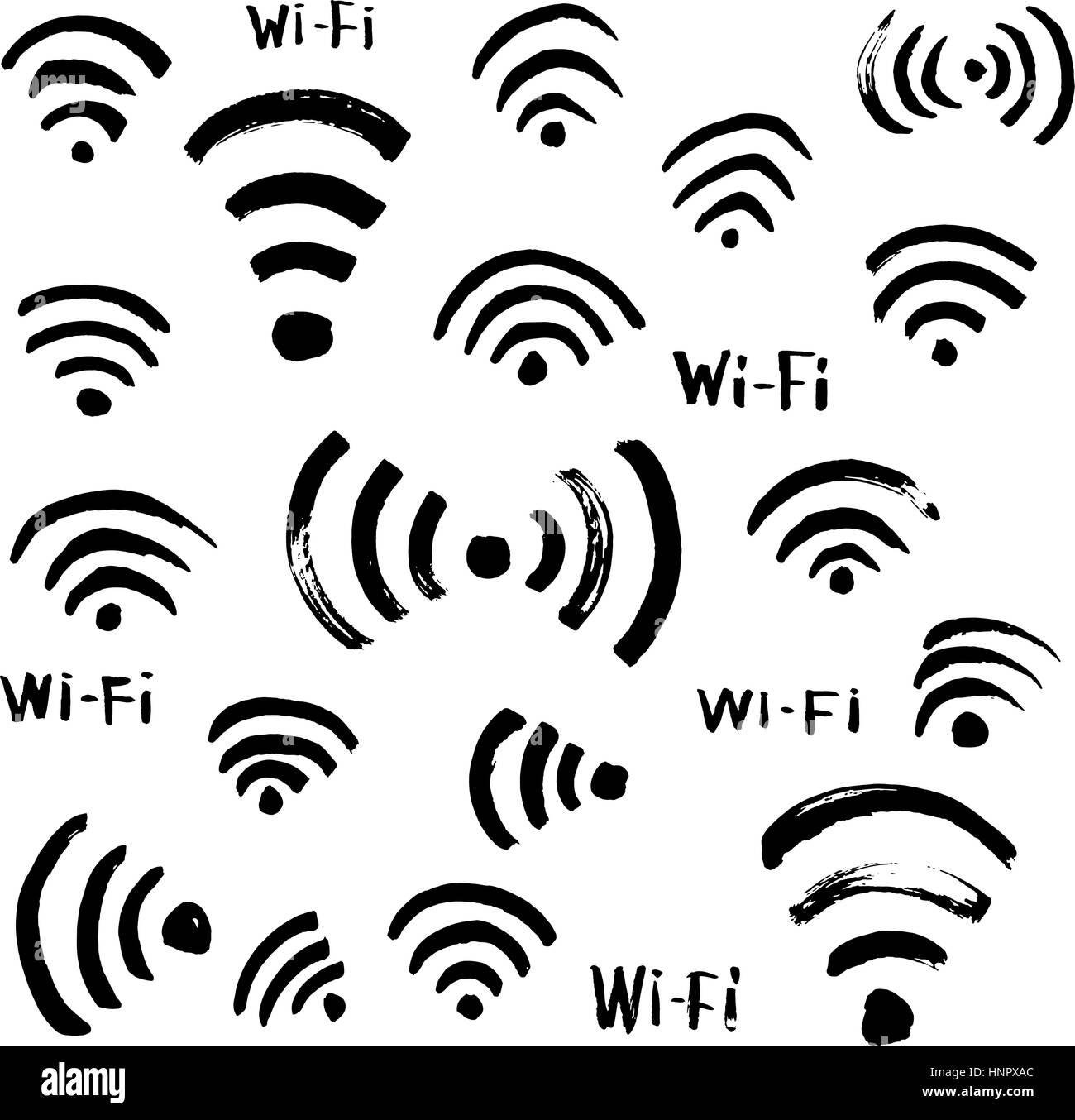 Croquis dessinés à la main, l'icône Wi-Fi Photo Stock