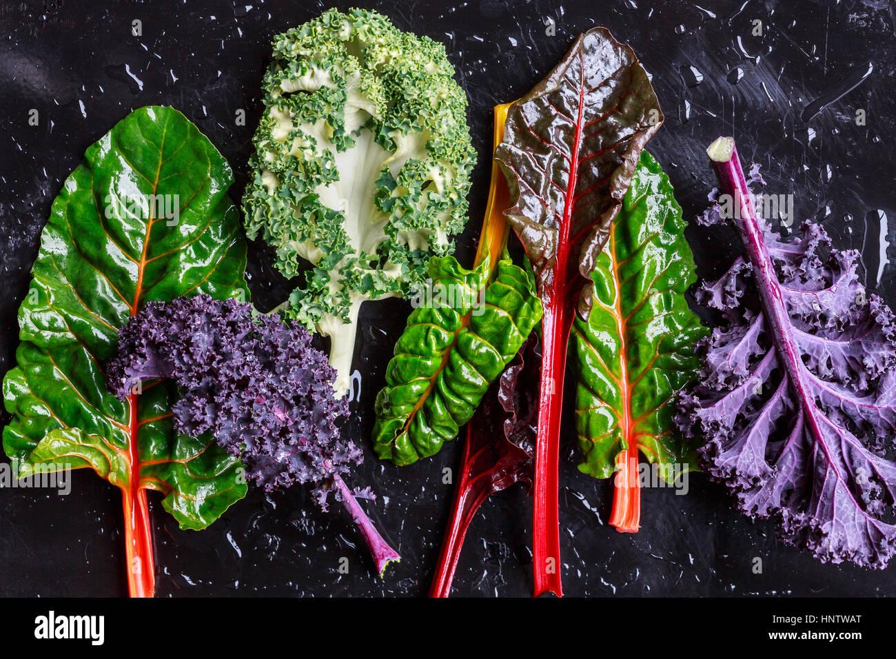 Kale pourpre et la bette à carde Photo Stock