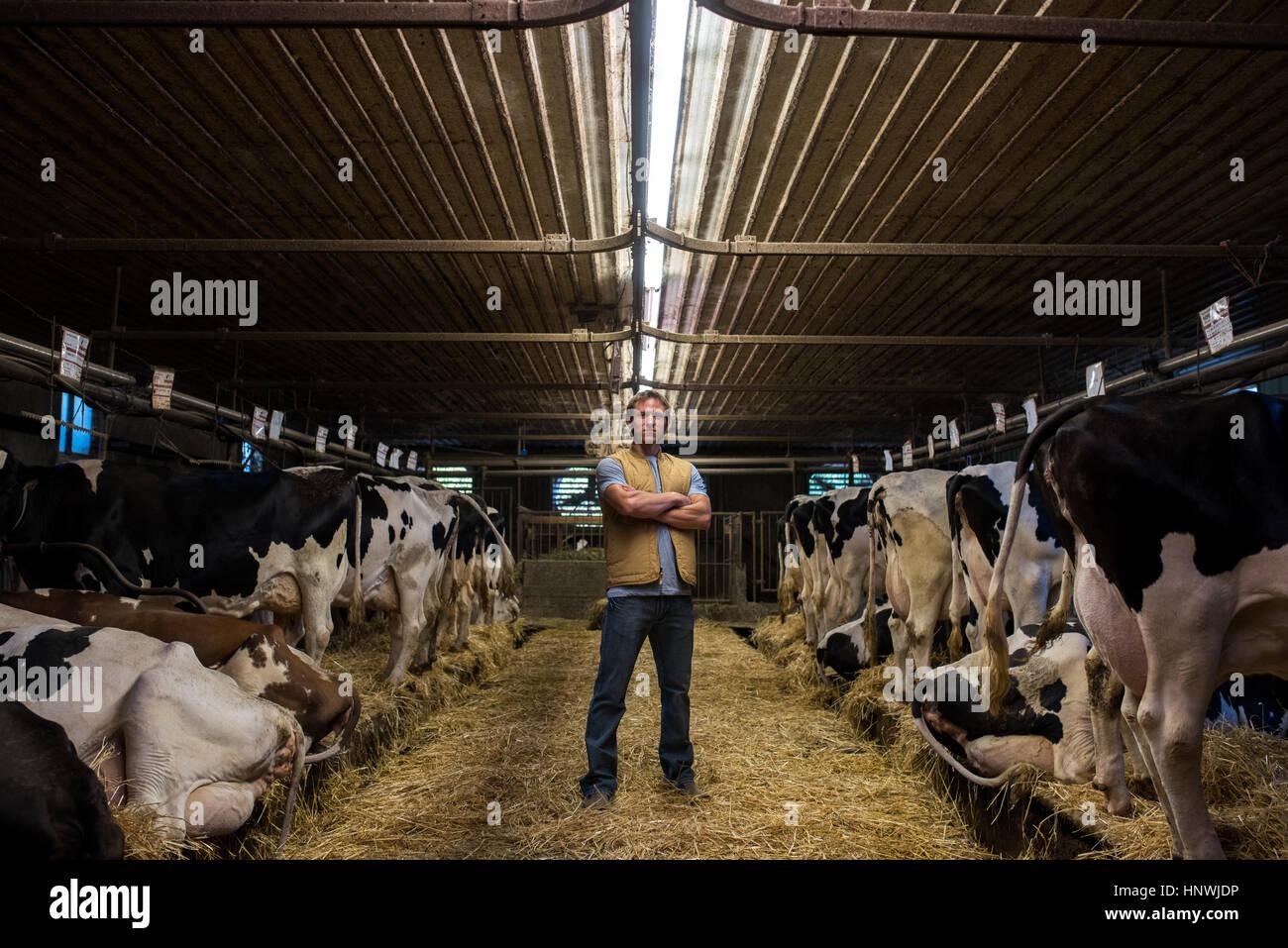 Portrait d'agriculteur de l'enclos Banque D'Images