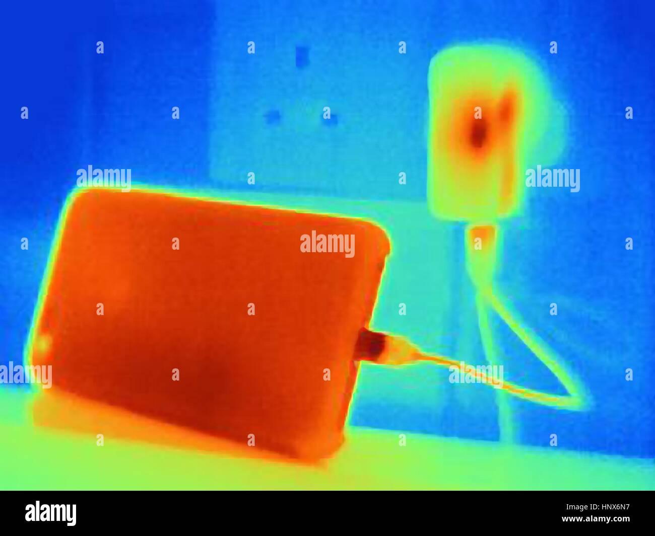 Image thermique de charge, smartphone Photo Stock