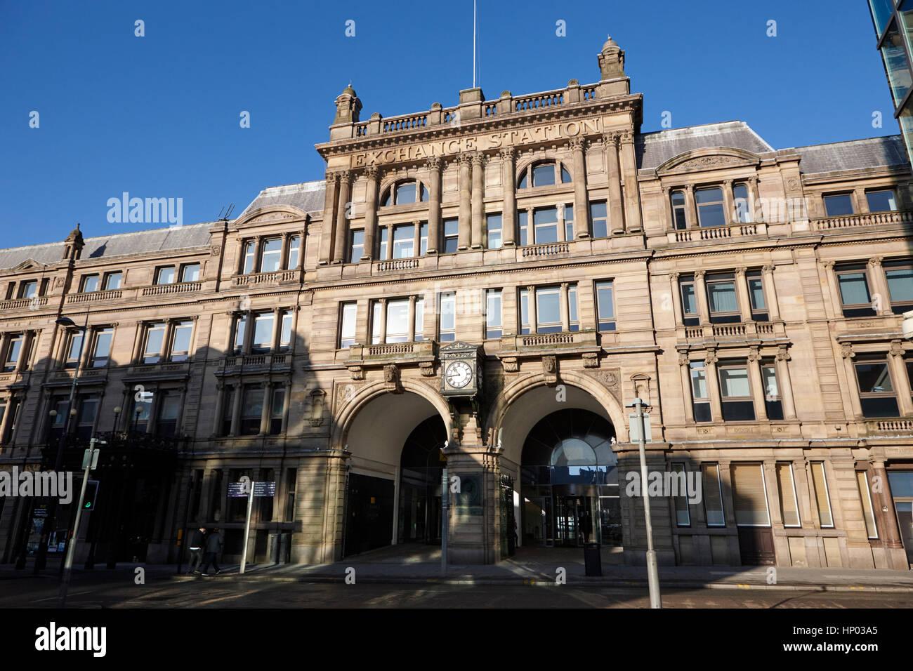 La station d'échange liverpool ancienne gare maintenant des bureaux dans le quartier commercial uk Banque D'Images