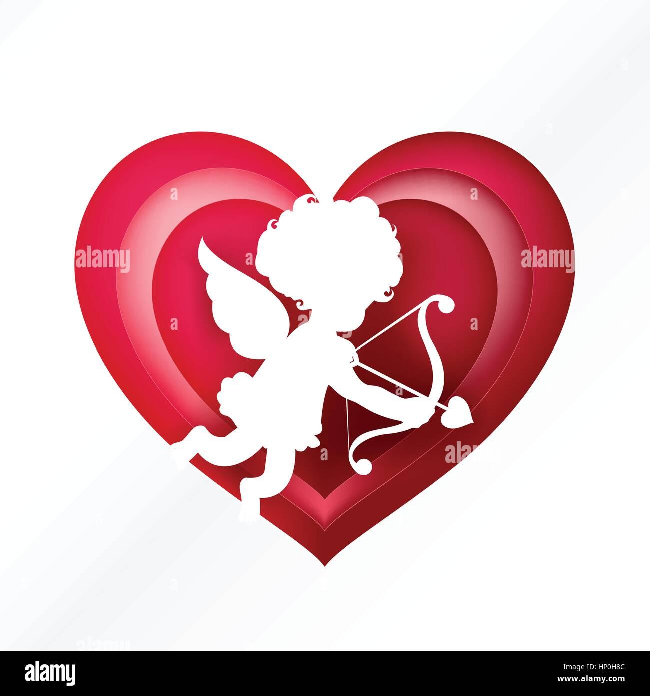 Cupid silhouette sur coeur rose pour la saint valentin et carte de mariage decoration background - Coeur pour la saint valentin ...