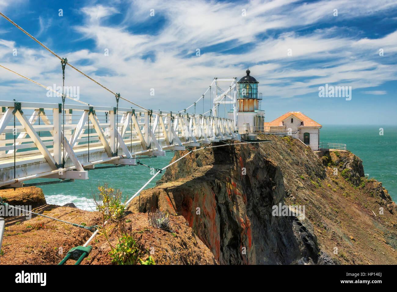 Le phare de Point Bonita en dehors de San Francisco, Californie Photo Stock