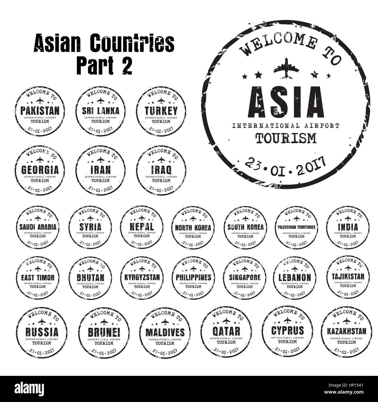 Ensemble de vieux timbres usés passeport avec le nom des pays d'Asie. Templates signe pour le billet et Photo Stock