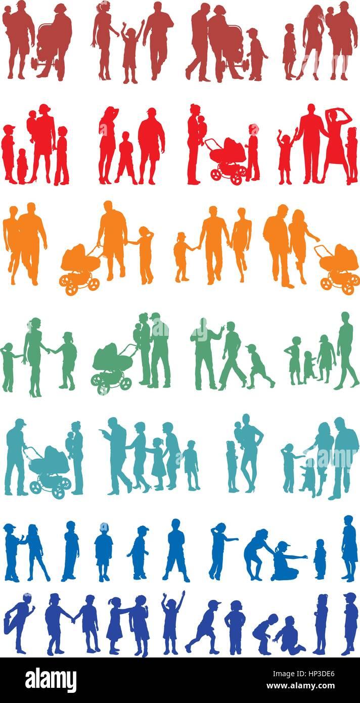 La silhouette colorée de la famille (vecteurs) Photo Stock