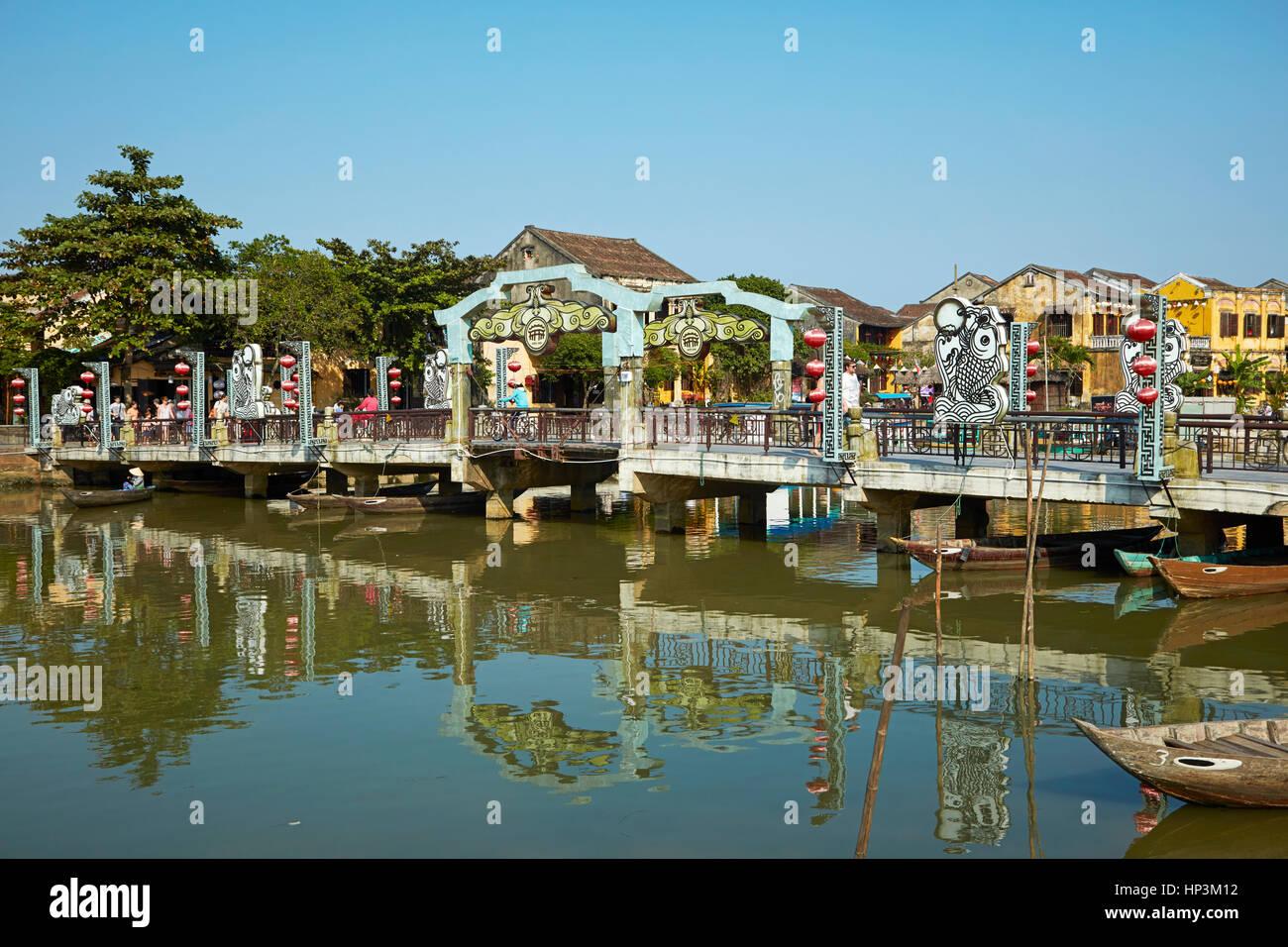 Pont sur la rivière Thu Bon, Hoi An (Site du patrimoine mondial de l'UNESCO), Vietnam Photo Stock