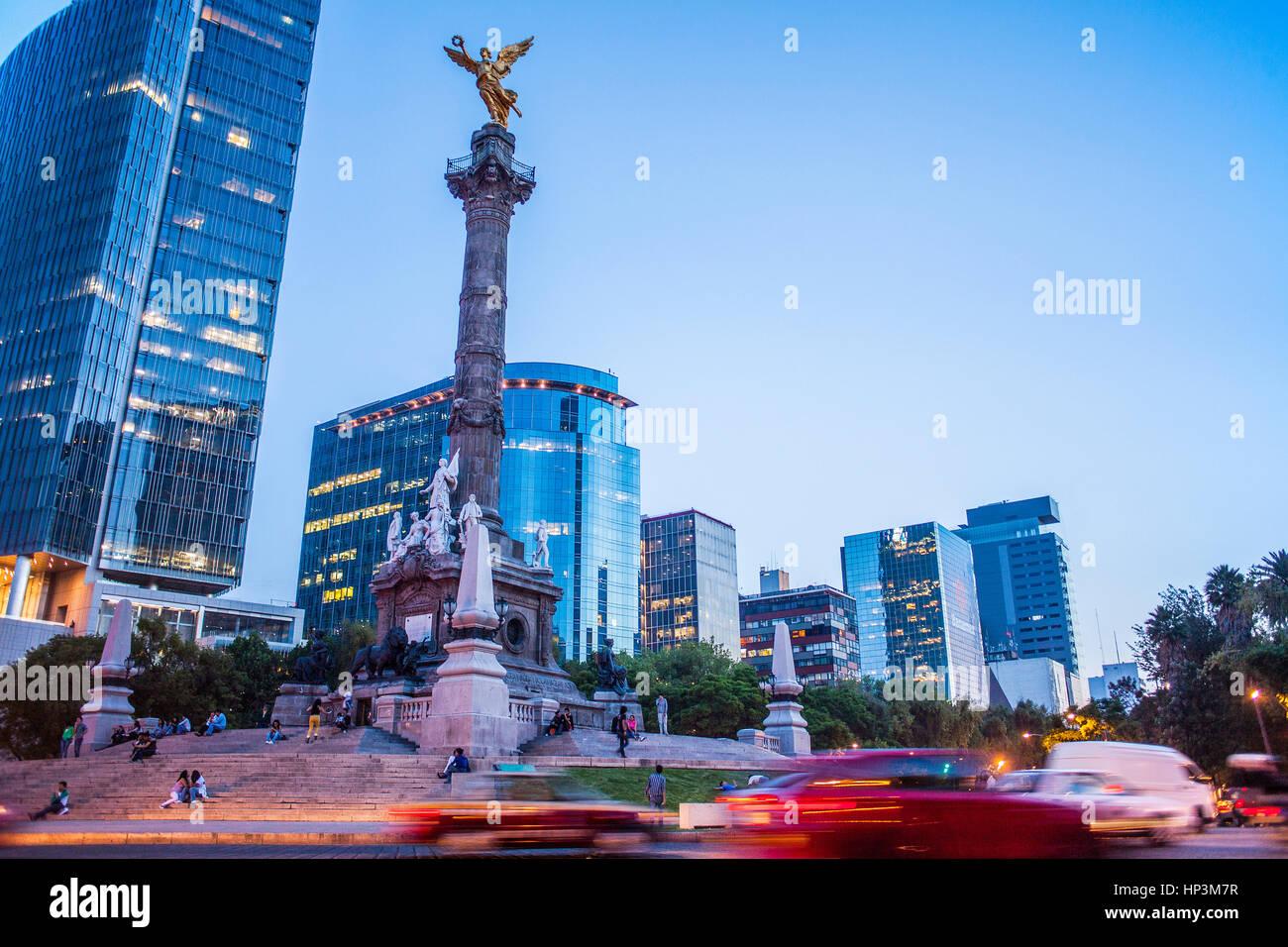 Angel statue, Monument de l'indépendance de l'Avenida de la Reforma, Mexico, Mexique Photo Stock
