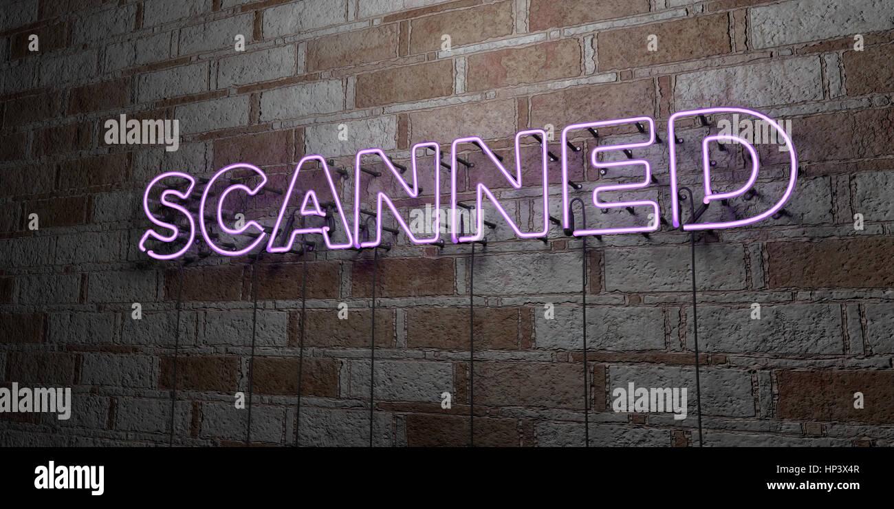 - Glowing Neon Sign numérisés sur mur en pierre - rendu 3D illustration libres de droits. Peut être Photo Stock