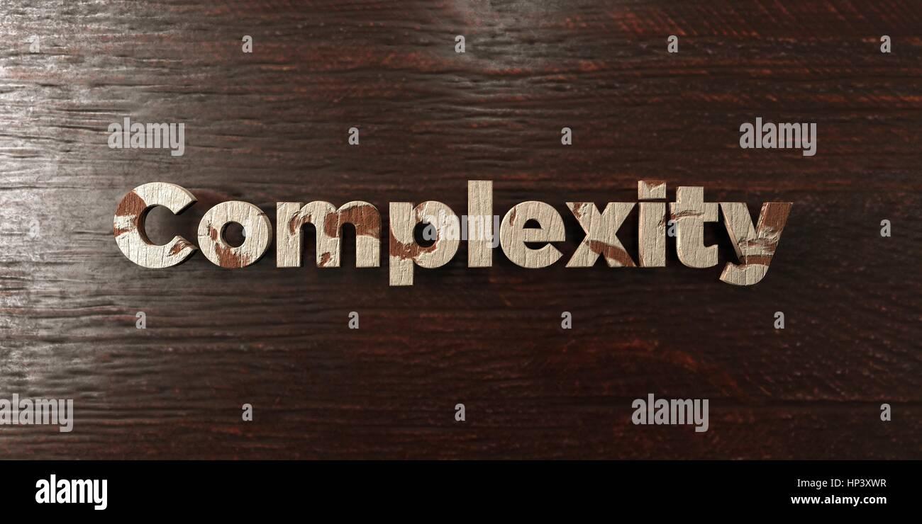 Complexité - grungy titre en bois sur l'érable - rendu 3D d'images libres de droits. Cette image Photo Stock