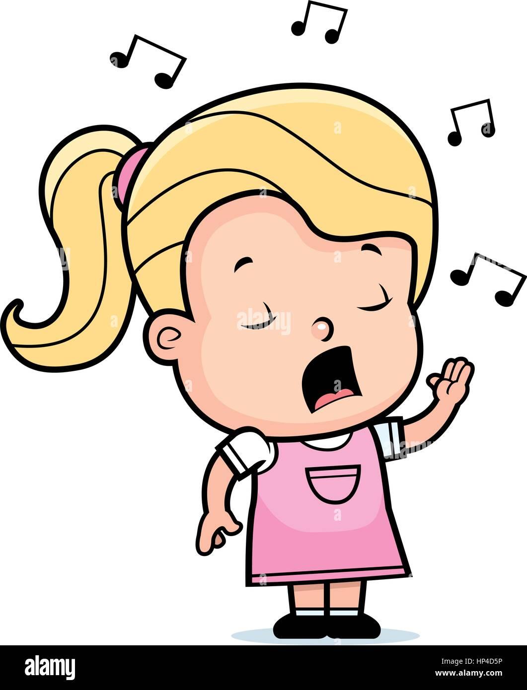 a86166a4de54b Un dessin animé bébé fille chantant une chanson Vecteurs Et ...