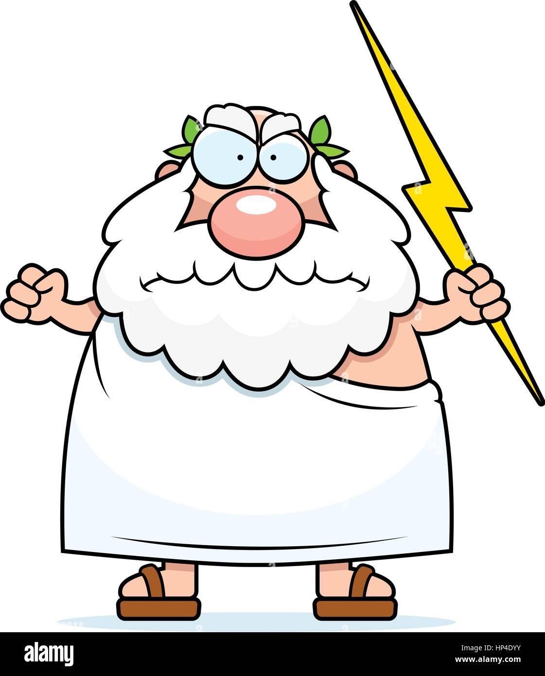 Un dessin animé dieu grec avec une expression de colère ...