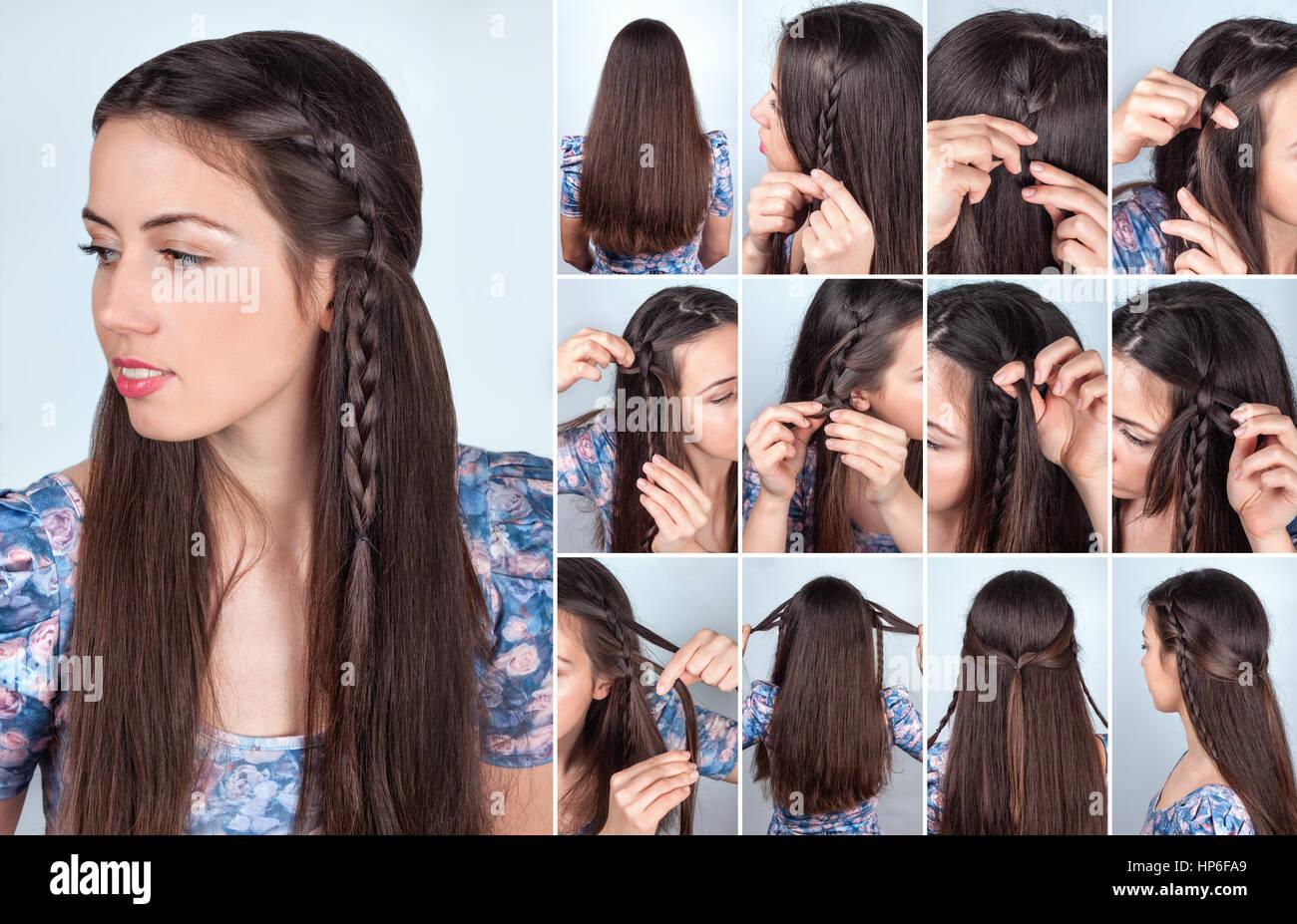 Tuto coiffure cheveux long brun