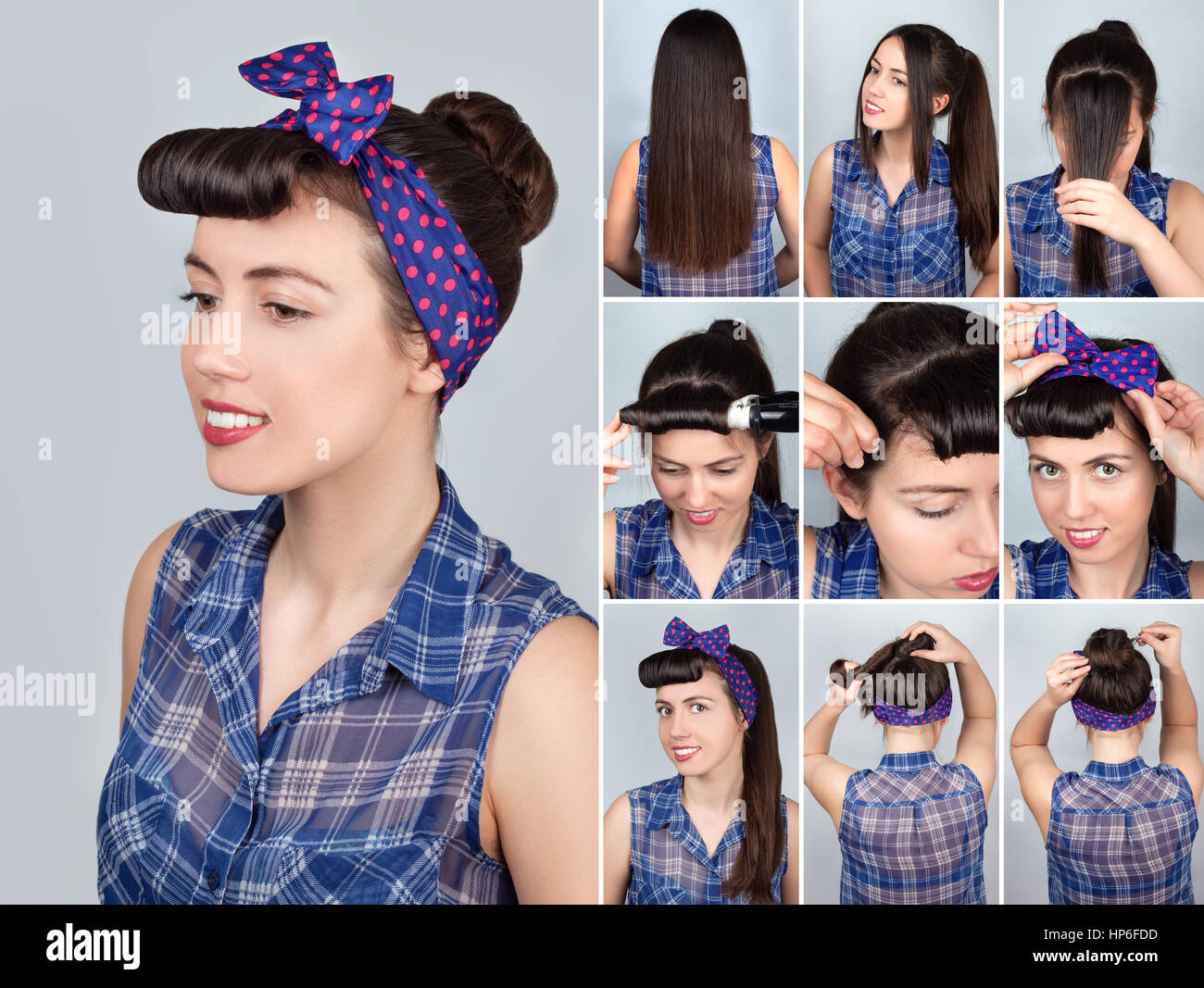 coiffure simple bun tutoriel pour femme coiffure pour cheveux longs style pin up banque d. Black Bedroom Furniture Sets. Home Design Ideas