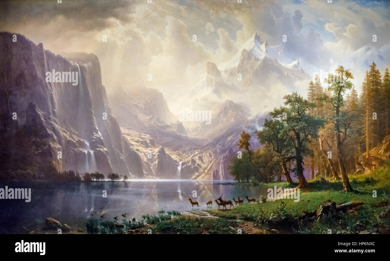 "Albert Bierstadt (1830-1902) ""Entre la Sierra Nevada, en Californie"", huile sur toile, 1868. Photo Stock"