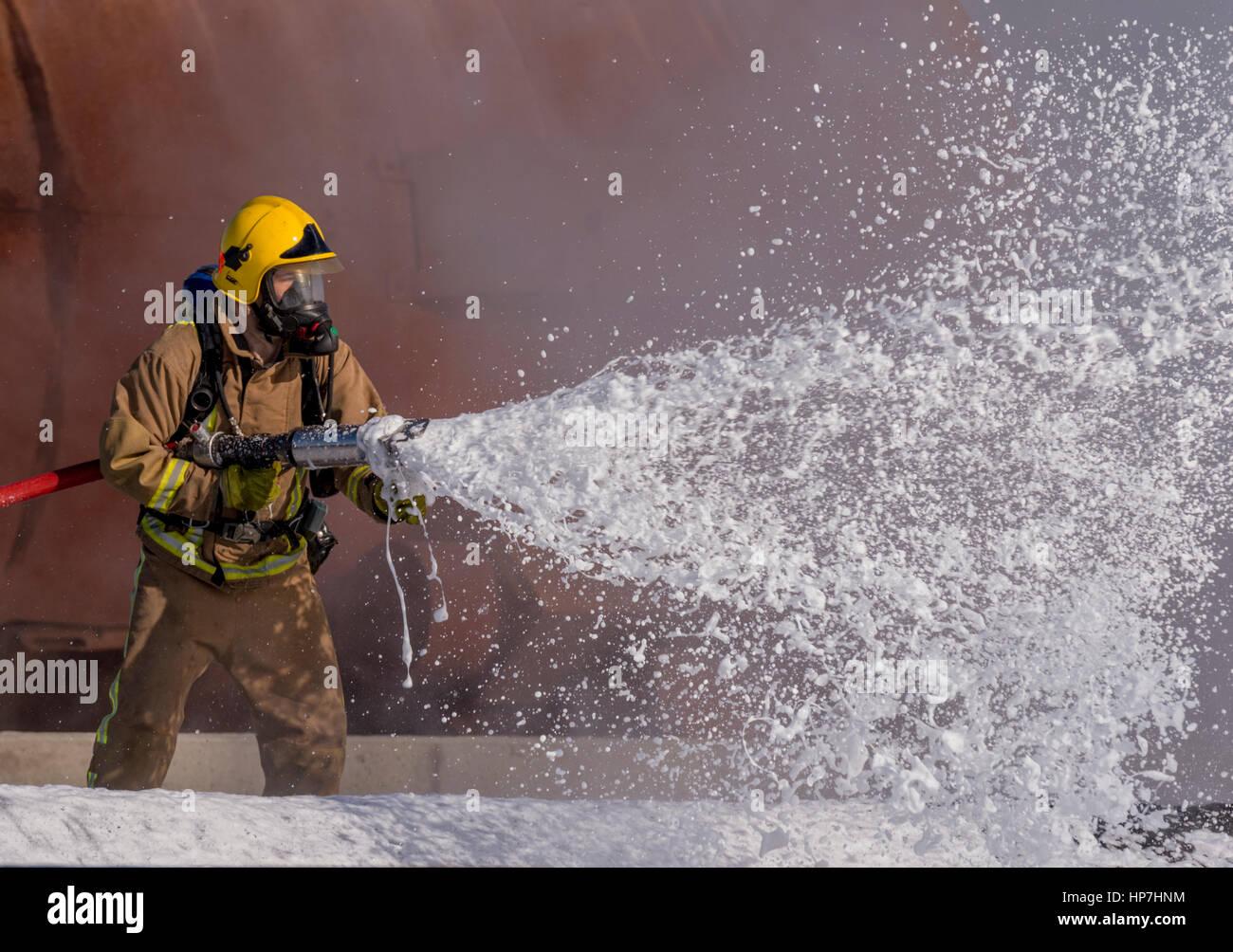 La Marine royale Crash/exercice incendie Aéroport Predannack Photo Stock
