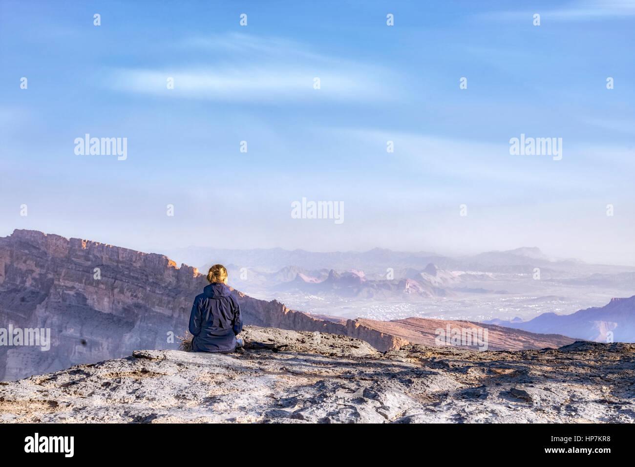 Jebel Shams, Oman, au Moyen-Orient, en Asie Photo Stock