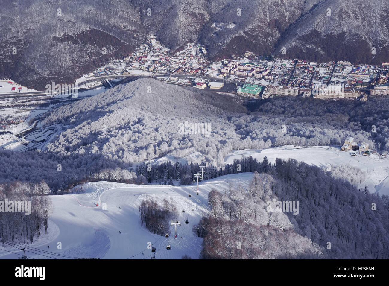 Gorki Gorod - toutes-saisons resort town et gaming zone 540 mètres au-dessus du niveau de la mer Photo Stock