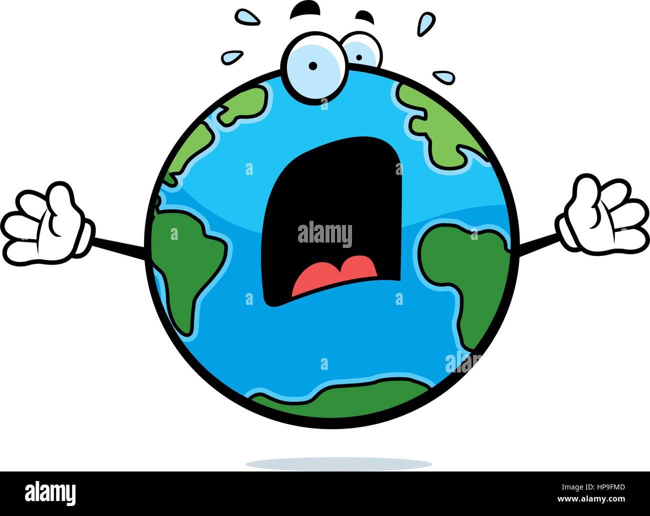 Un Dessin De La Planète Terre Avec Une Expression De Peur Vecteurs