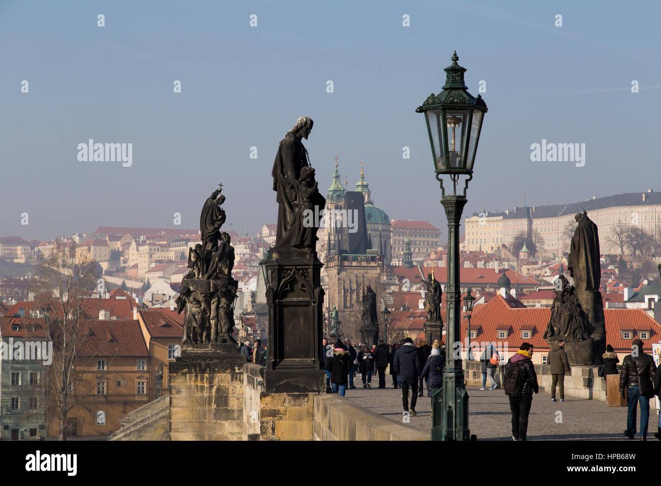 Le pont Charles à Prague République Tchèque Photo Stock