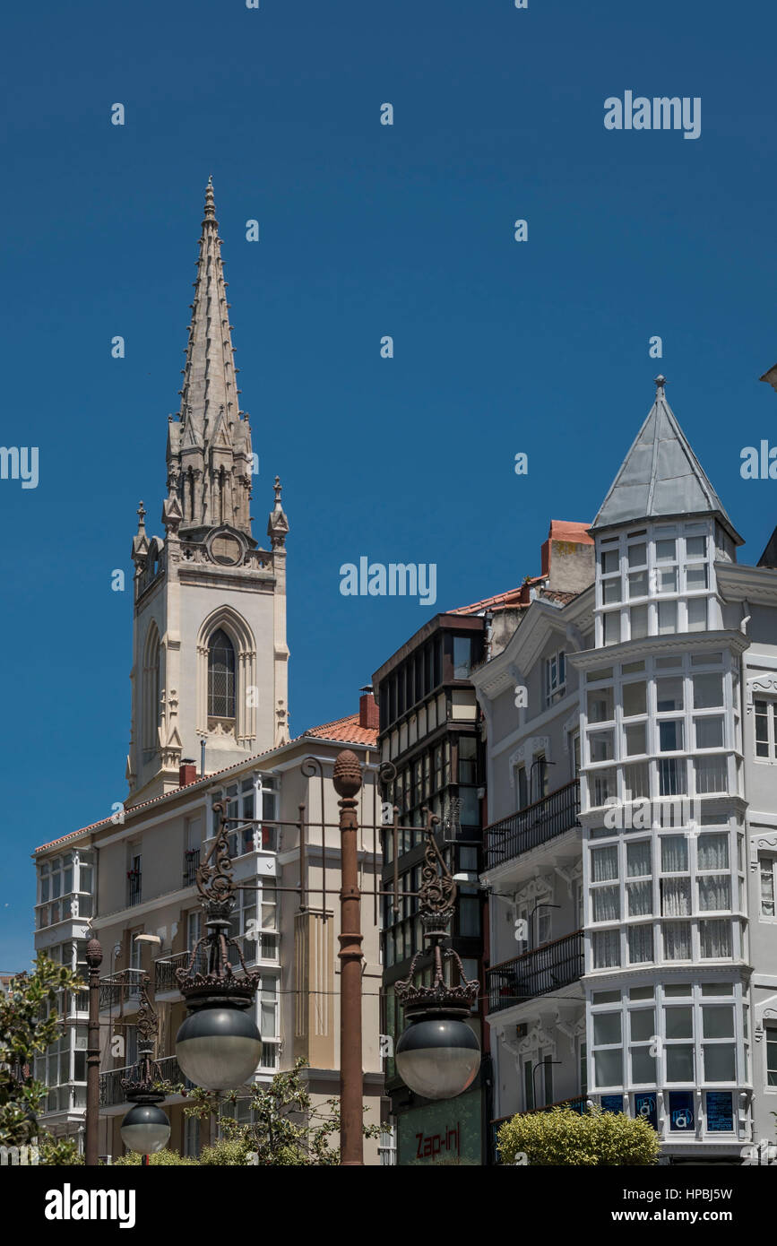 Architecture le centre-ville de Santander, Photo Stock