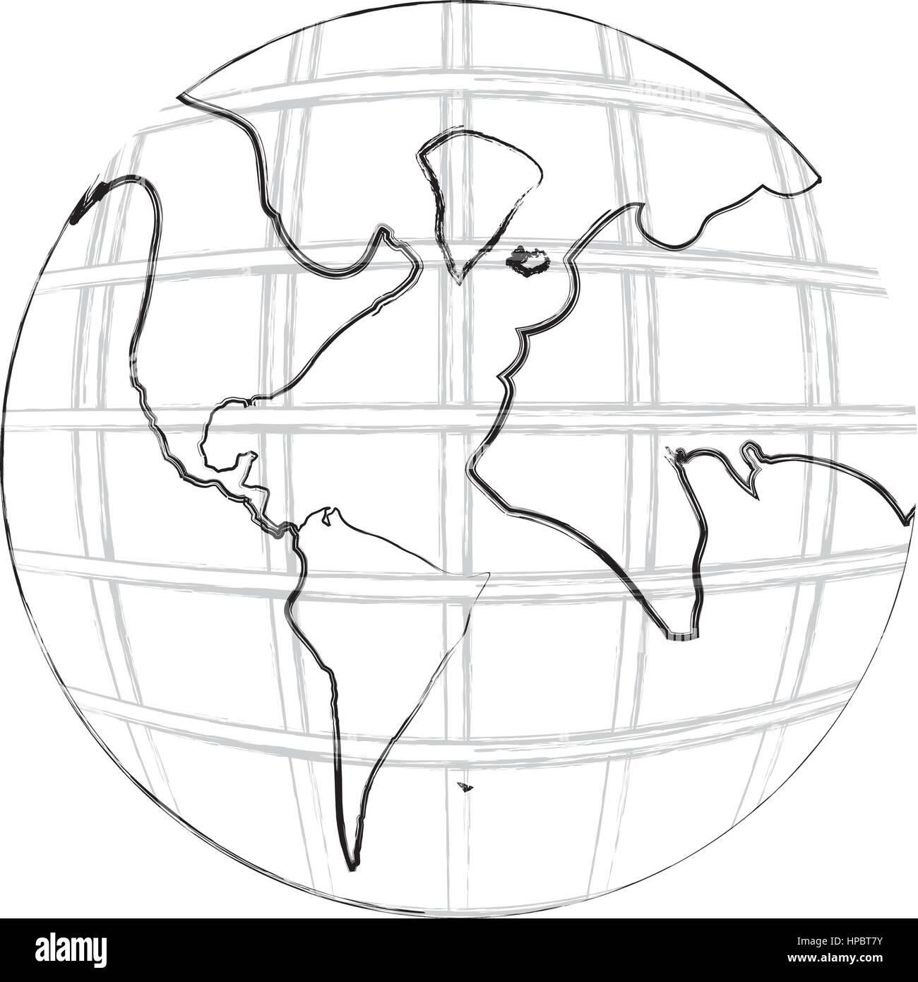 Contour Noir Et Dessin à La Main De Carte Du Monde Avec Des