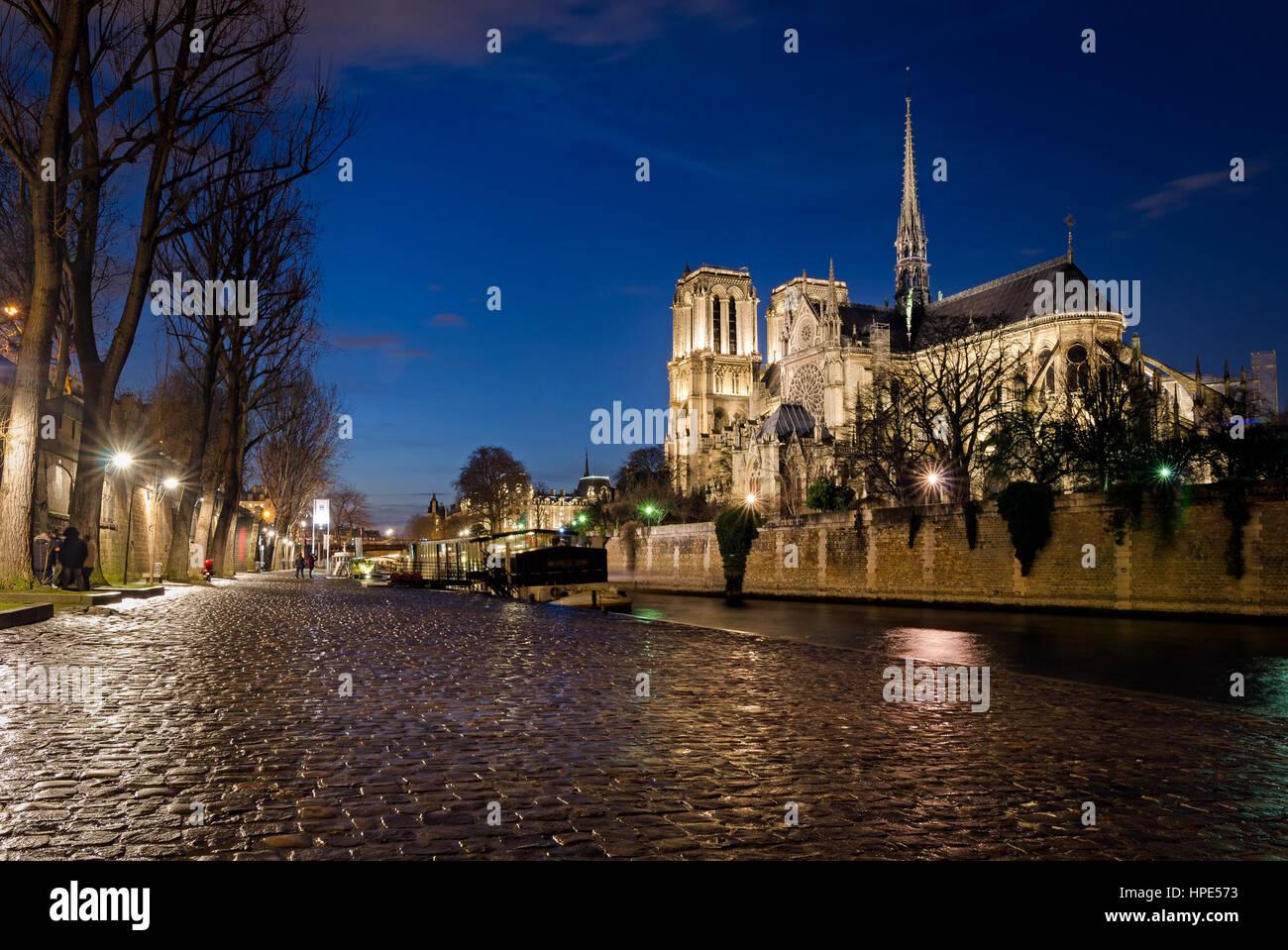 Notre-Dame de Paris et de Seine à heure bleue Photo Stock