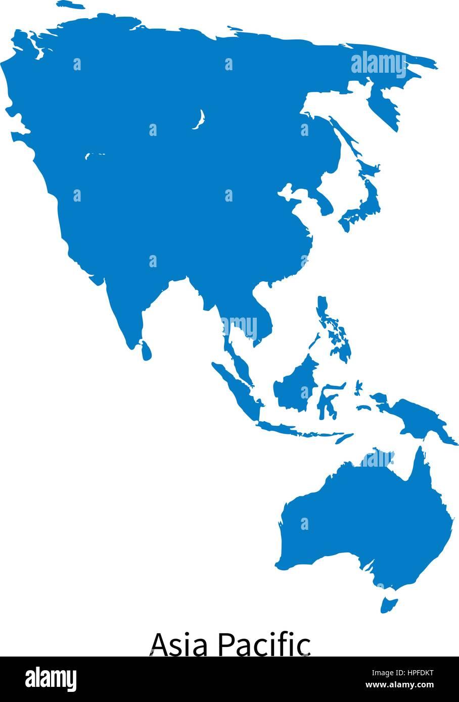 Carte Geographique Asie Pacifique.Carte Vectorielle Detaillee De L Asie Pacifique Sur White Vecteurs