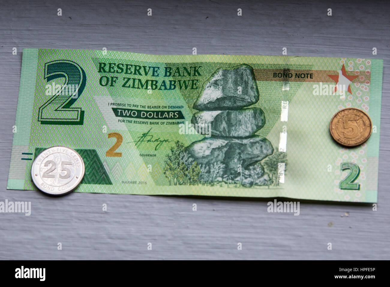 Deux dollar bond remarque, au Zimbabwe Photo Stock