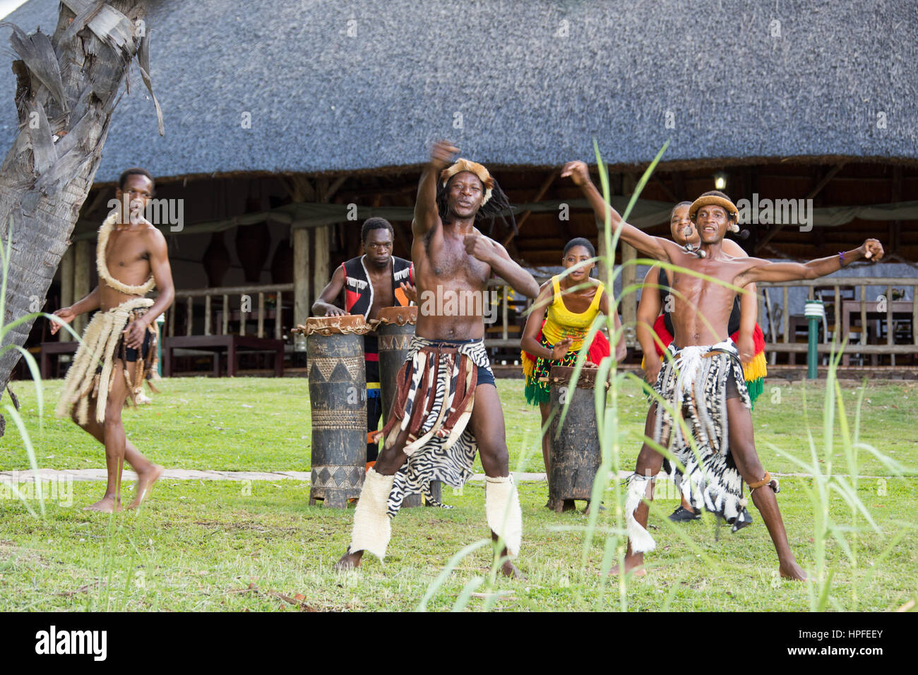 La danse traditionnelle pour les touristes, Victoria Falls, Zimbabwe Photo Stock