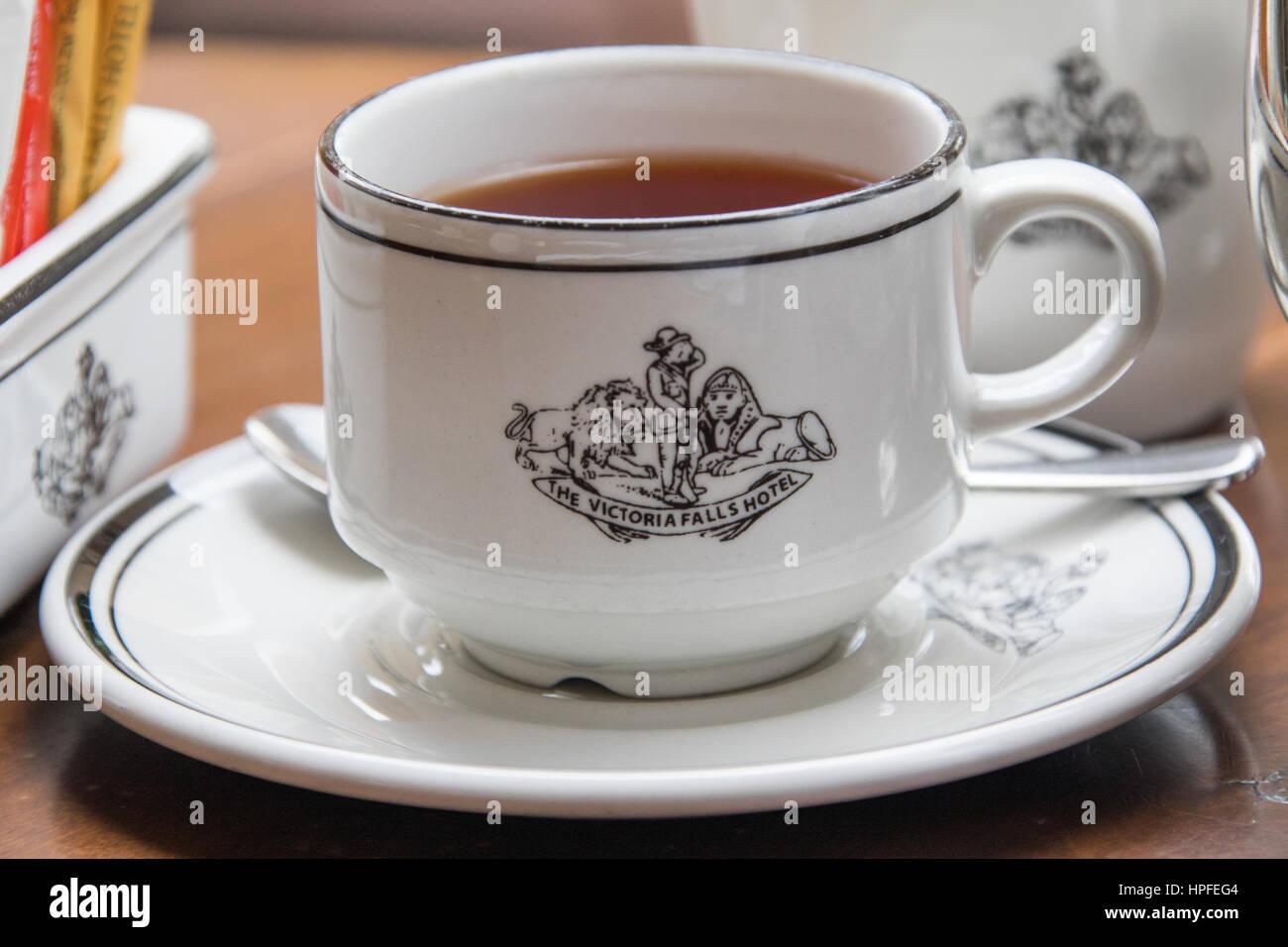 Service à thé ou thé au Victoria Falls Hotel, Victoria Falls, Zimbabwe Photo Stock