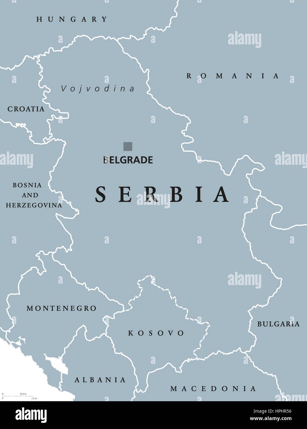 Carte Europe Du Sud Est.Carte Politique De La Serbie Avec Belgrade Et Capital Les Pays