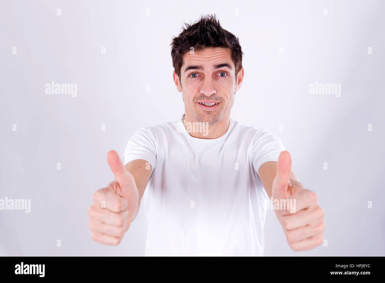 Parution du modèle , Mann mit Daumen erhobenen - man with Thumbs up Photo Stock